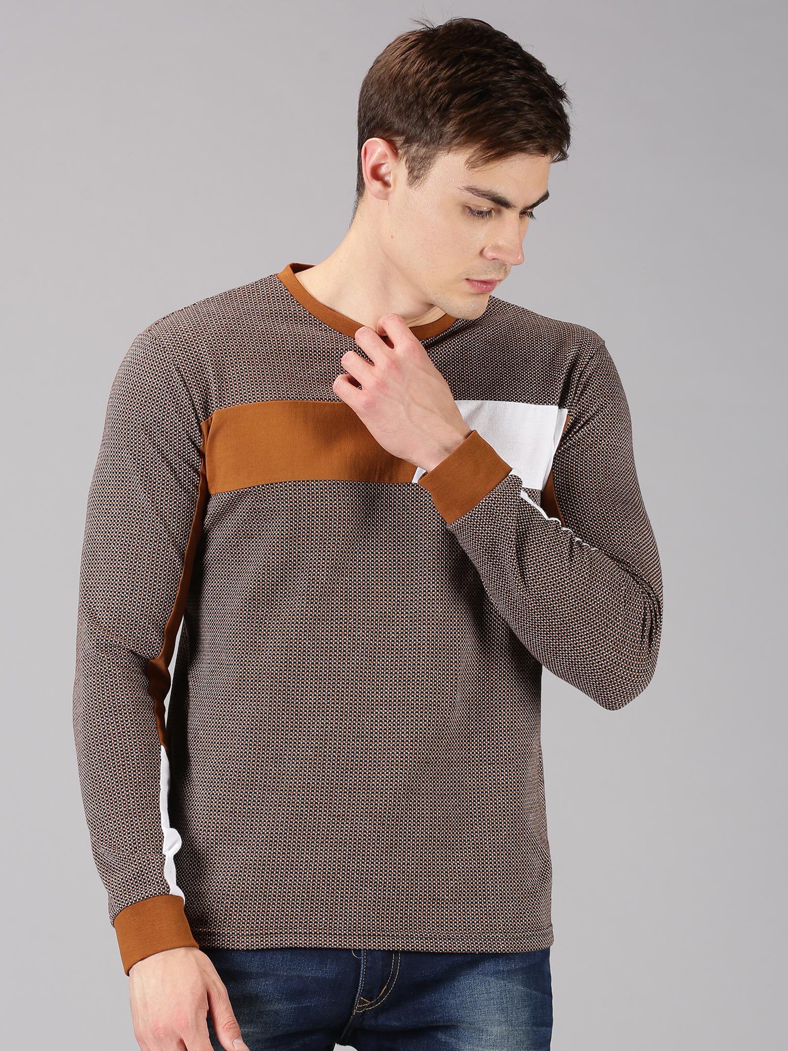 UrGear | UrGear Color Block Men Round Neck Brown, White T-Shirt