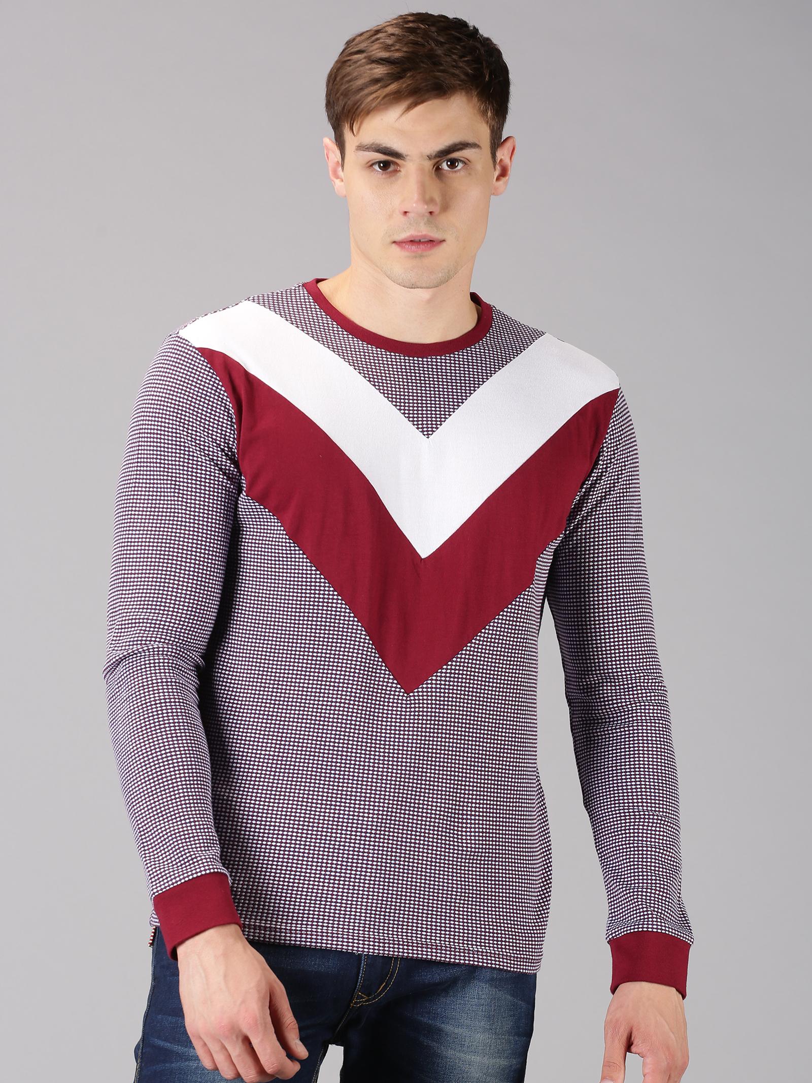 UrGear | UrGear Color Block Men Round Neck Maroon T-Shirt