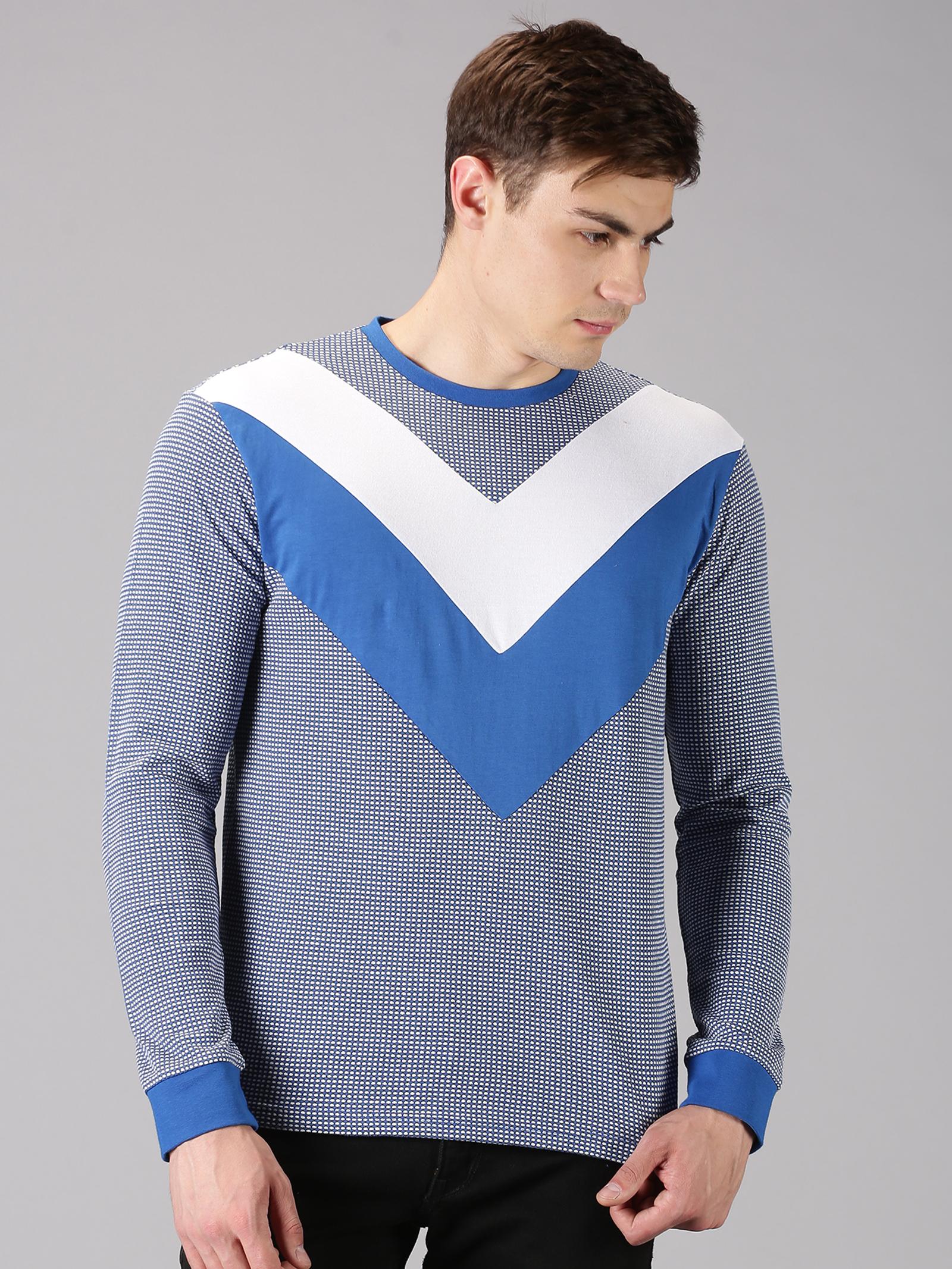 UrGear | UrGear Color Block Men Round Neck Blue T-Shirt