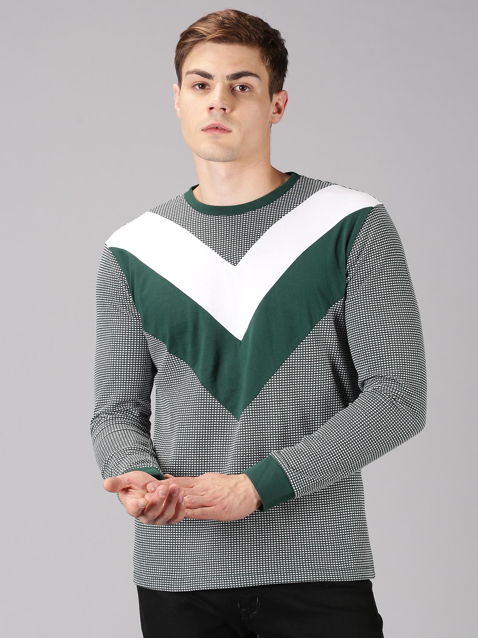 UrGear | UrGear Color Block Men Round Neck Green, White T-Shirt