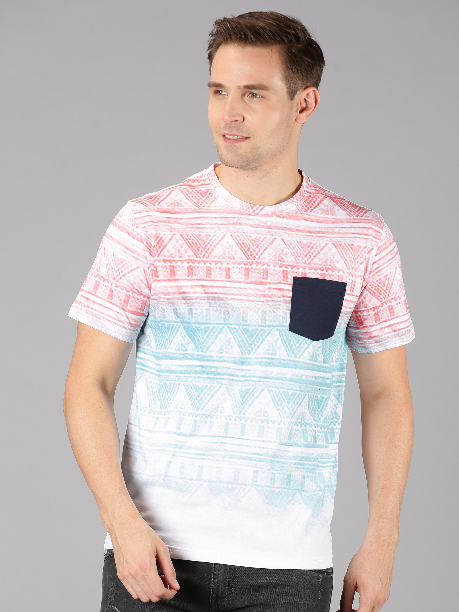 UrGear | UrGear Printed Men Round Neck Multicolor T-Shirt