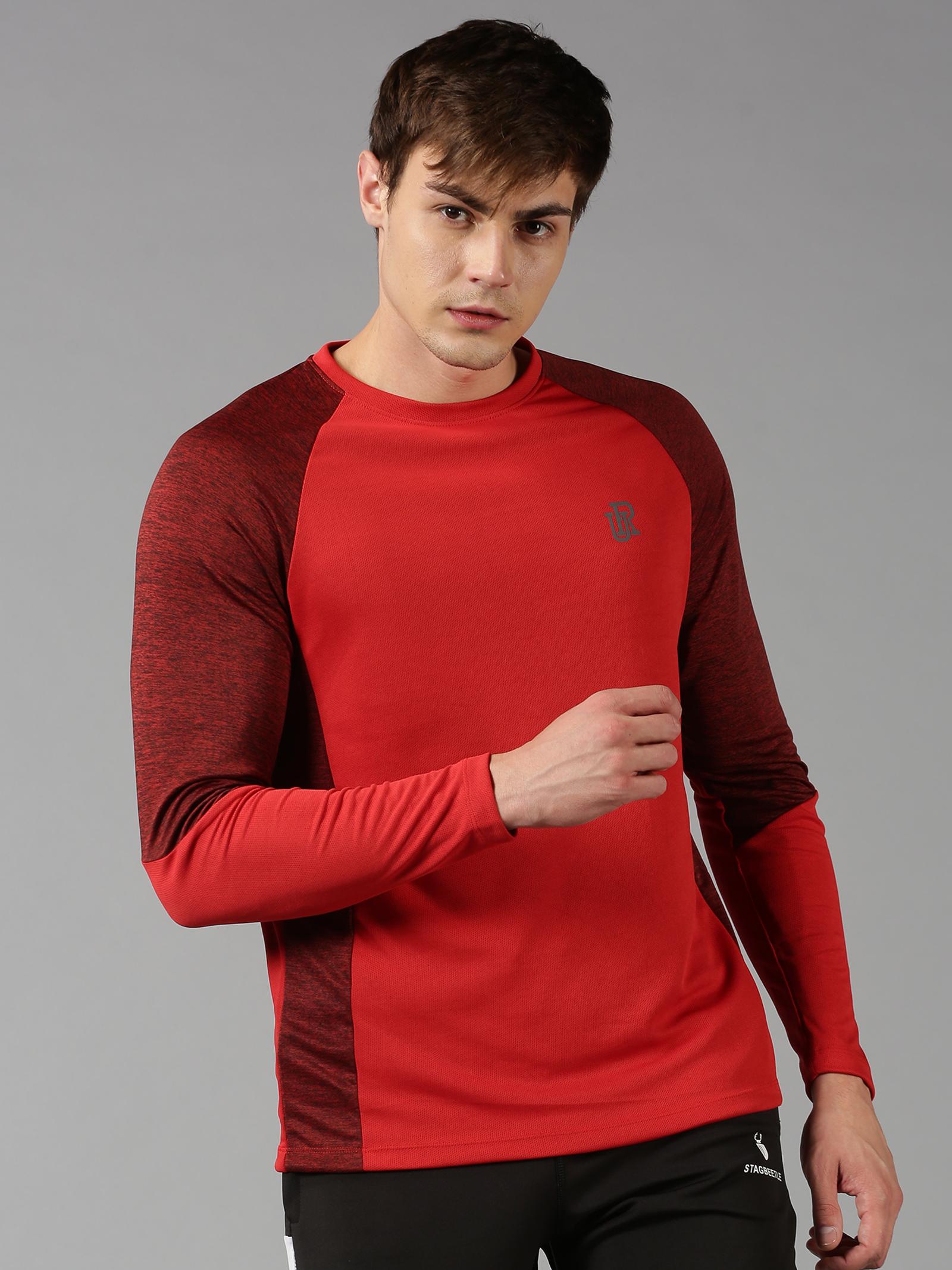 UrGear | UrGear Color Block Men Round Neck Red T-Shirt