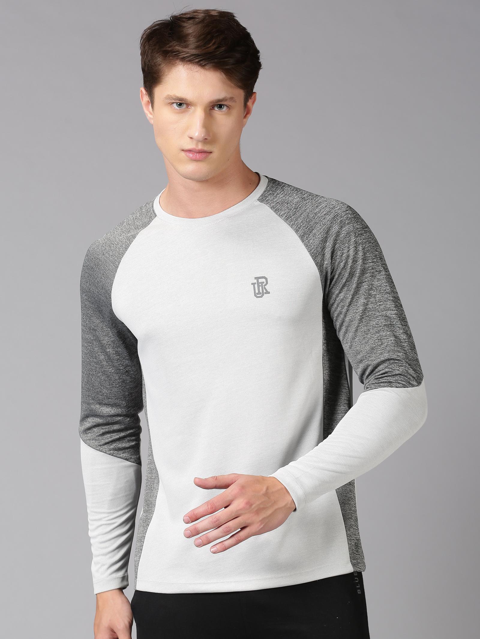 UrGear | UrGear Color Block Men Round Neck Grey T-Shirt