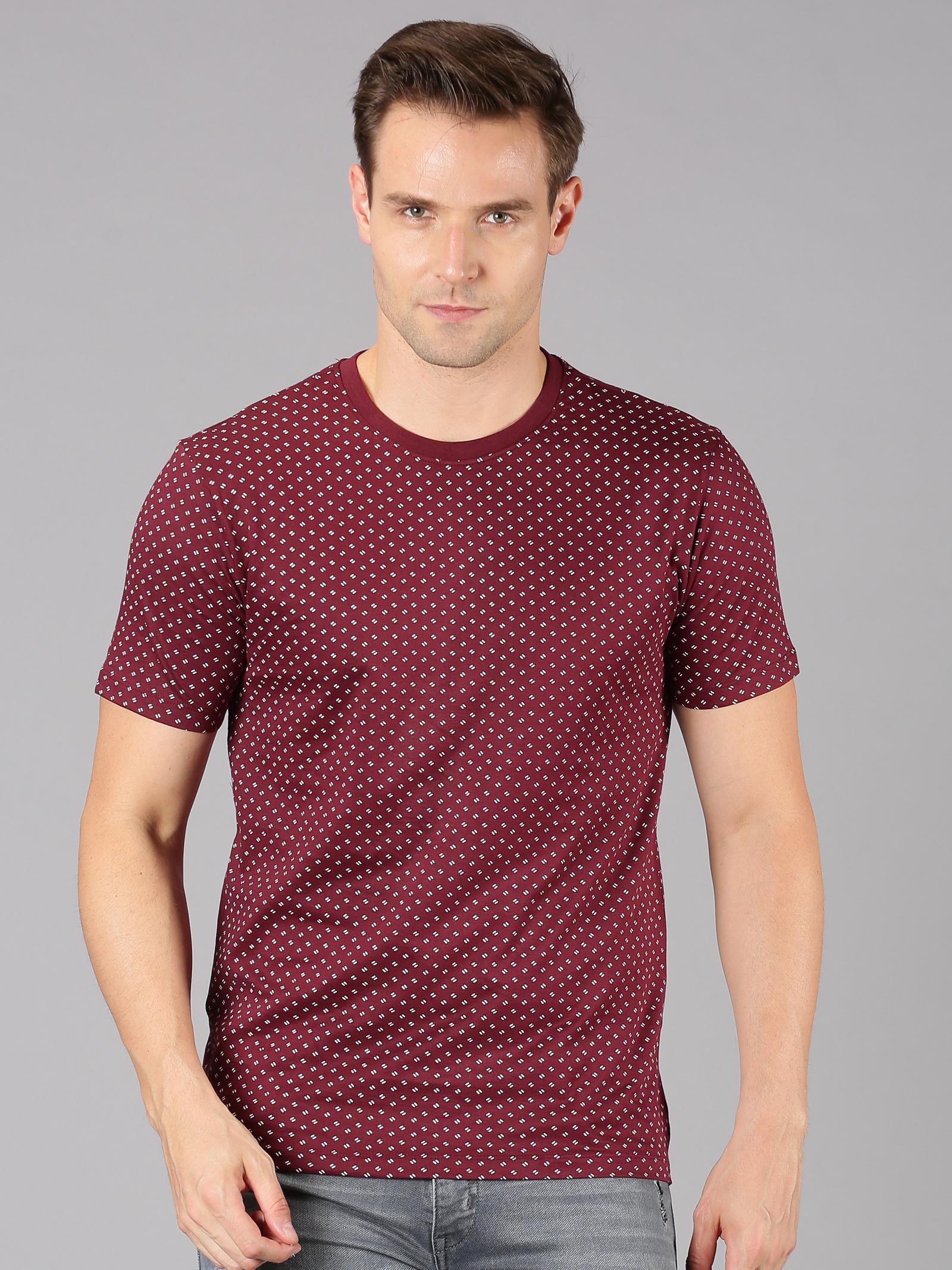 UrGear   UrGear Printed Men Round Neck Maroon T-Shirt