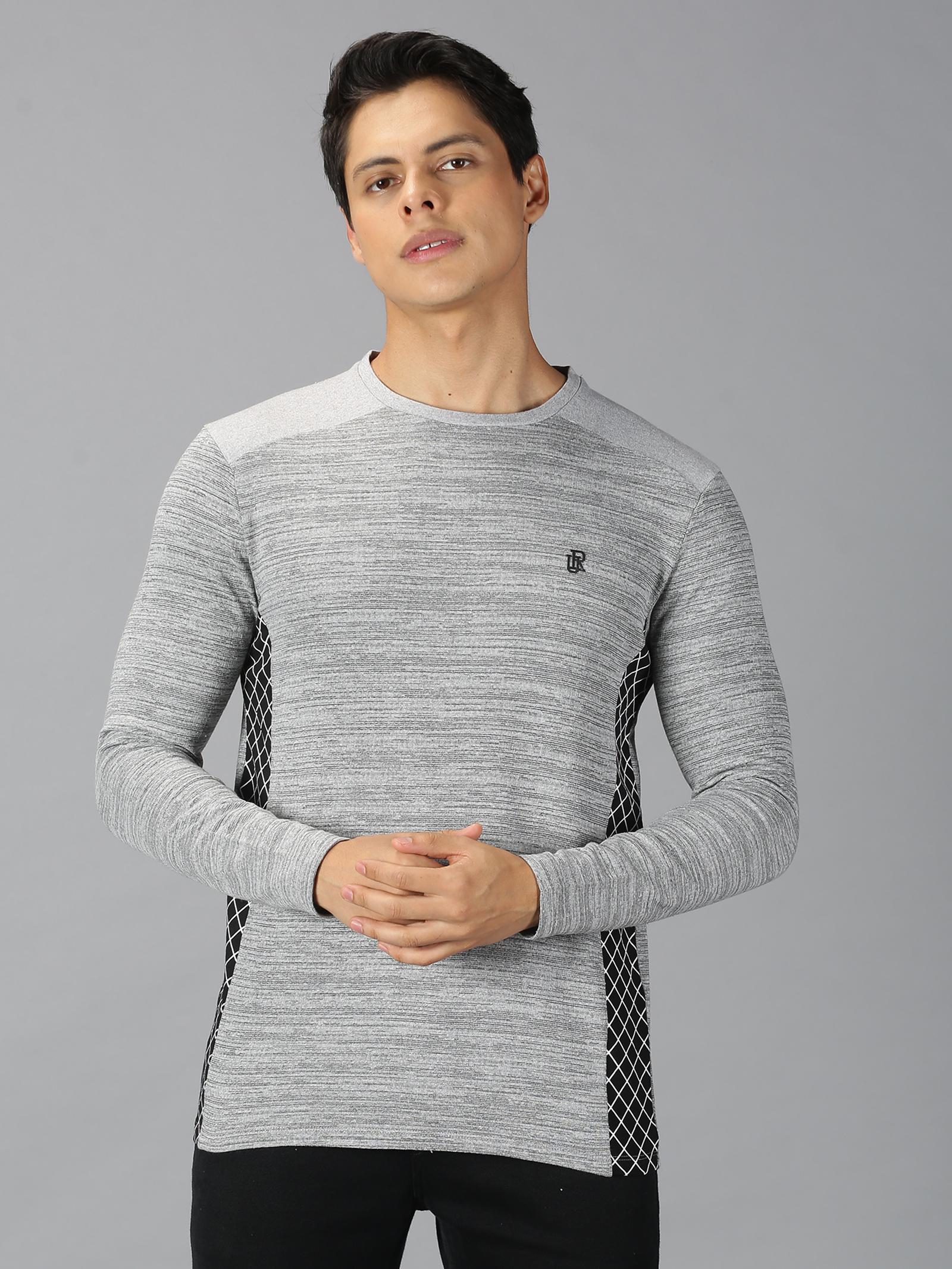 UrGear | UrGear Cut&Sew Men Round Neck Black T-shirt