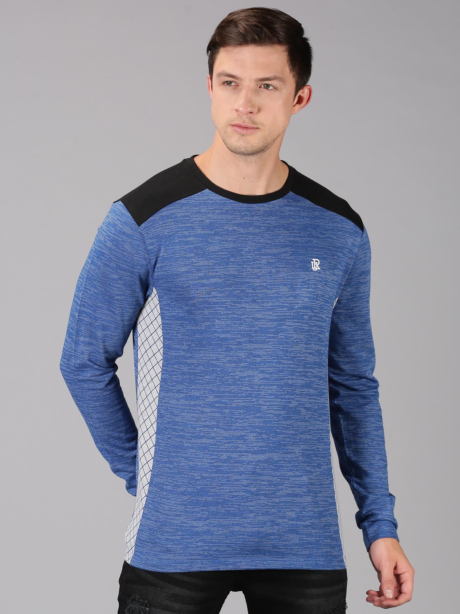 UrGear | UrGear Color Block Men Round Neck Blue, White, Black T-Shirt