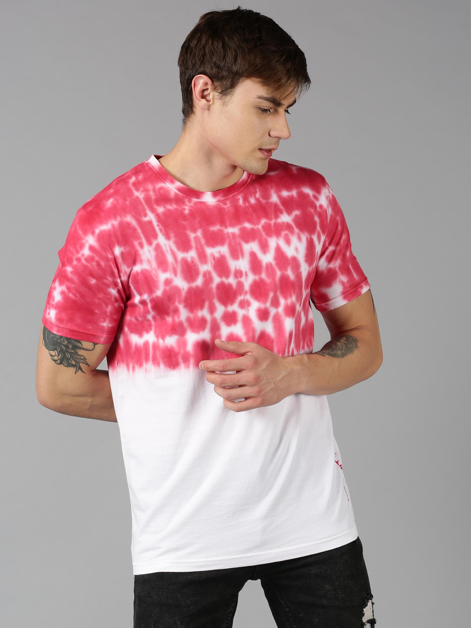 UrGear | UrGear Tie & Dye Men Round Neck White, Red T-Shirt