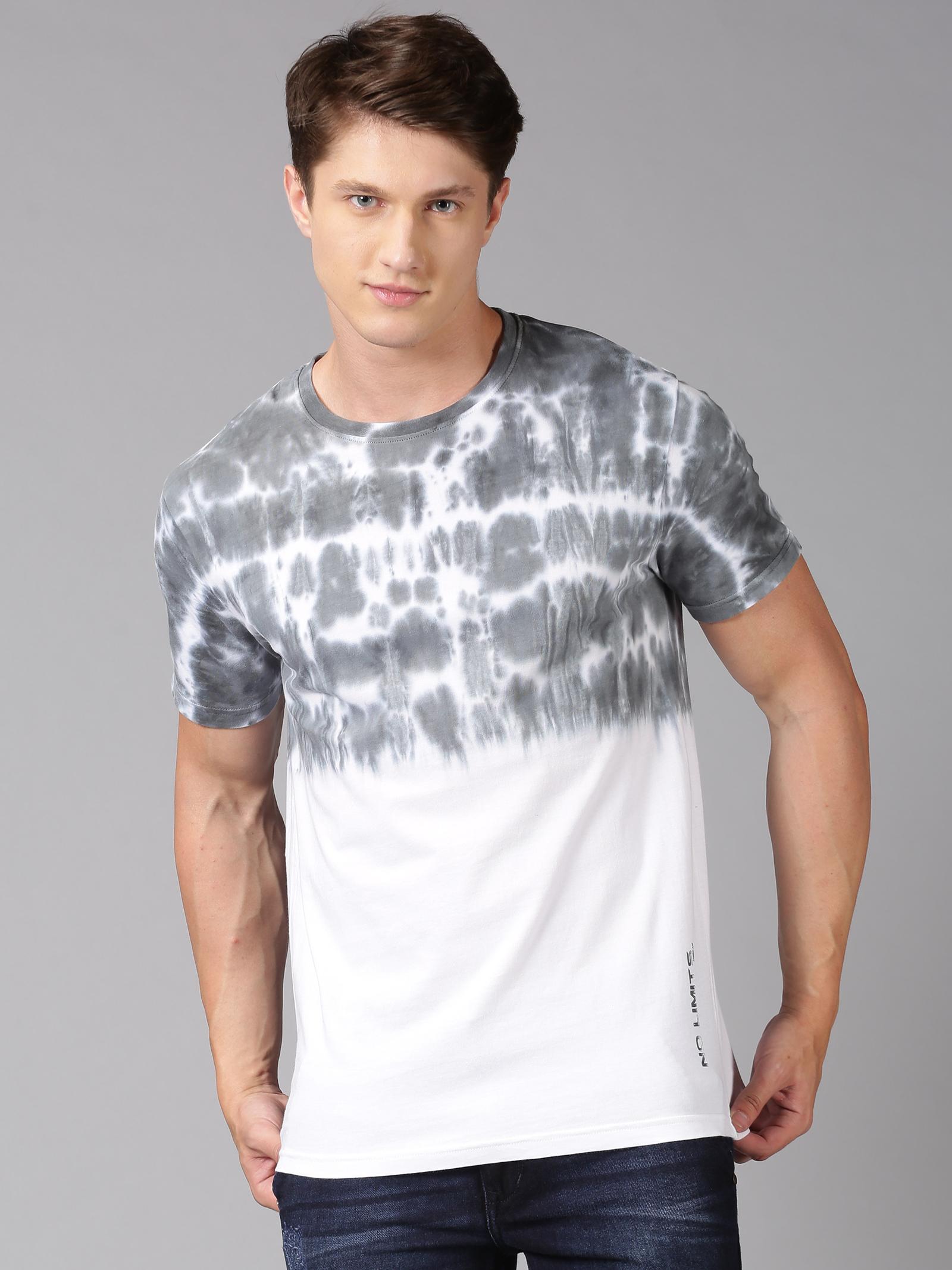 UrGear | UrGear Tie & Dye Men Round Neck White, Black T-Shirt