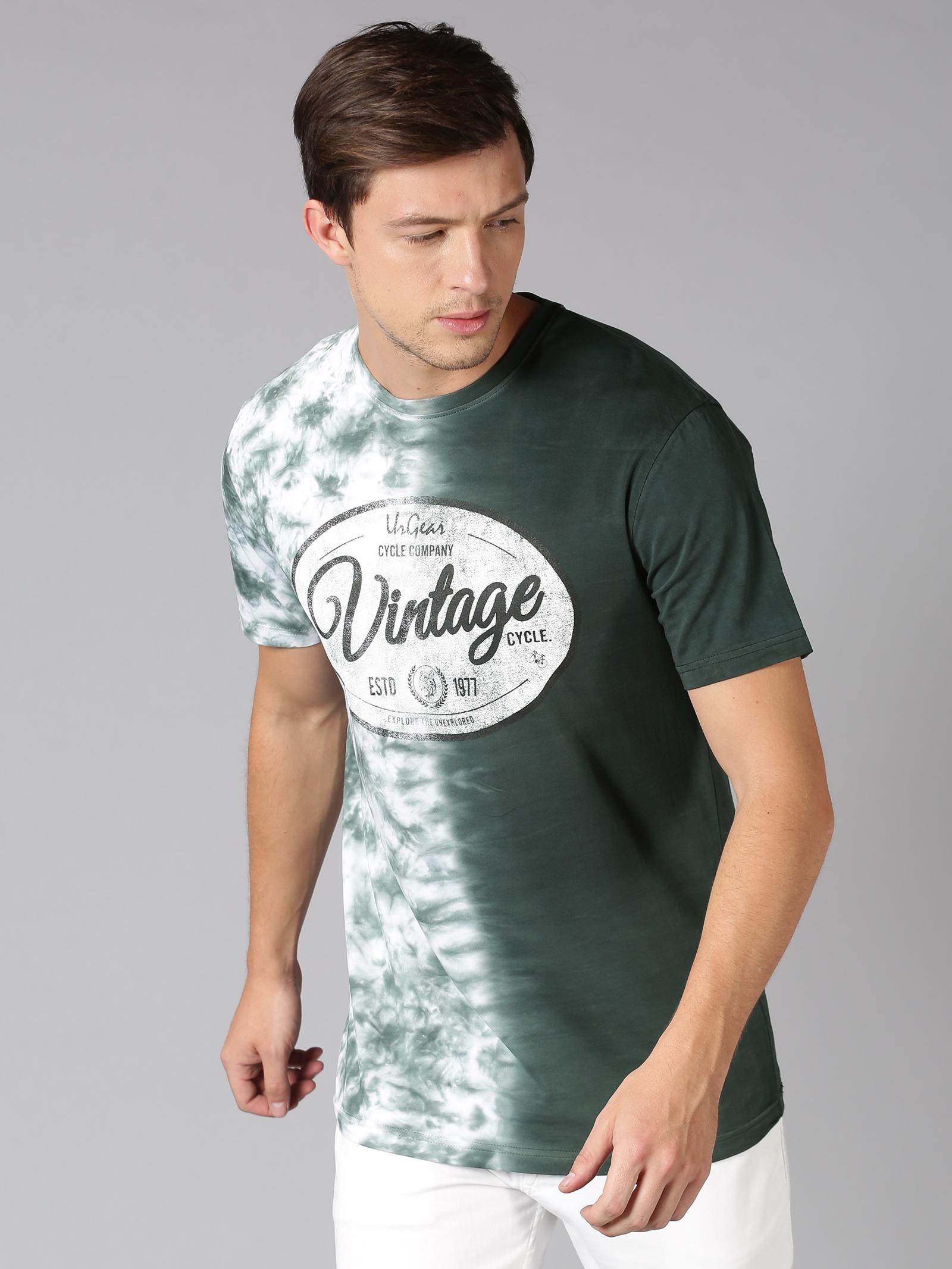 UrGear | UrGear Tie & Dye, Typography Men Round Neck Green T-Shirt