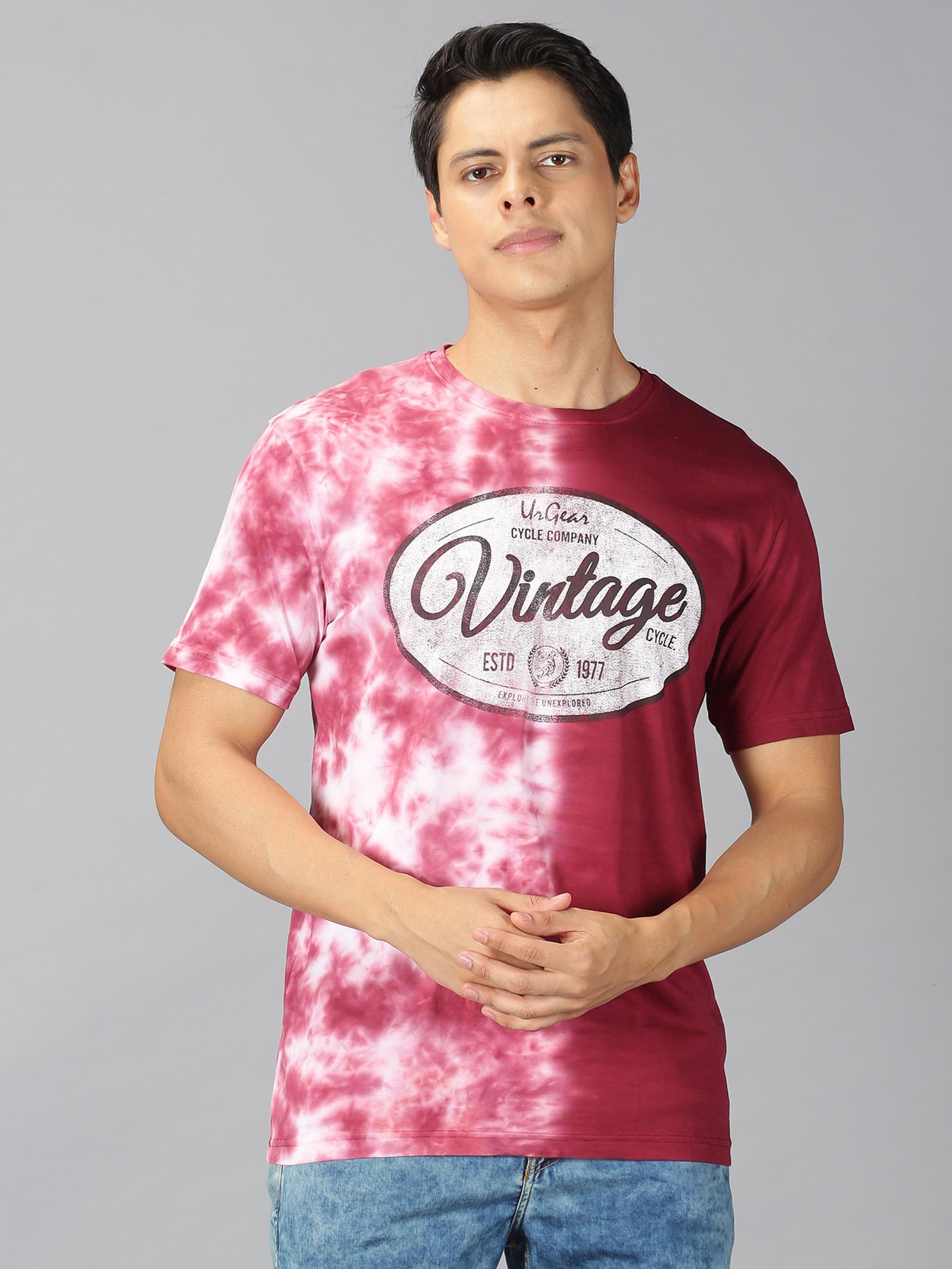 UrGear | UrGear Tie&Dye Men Round Neck Red T-shirt
