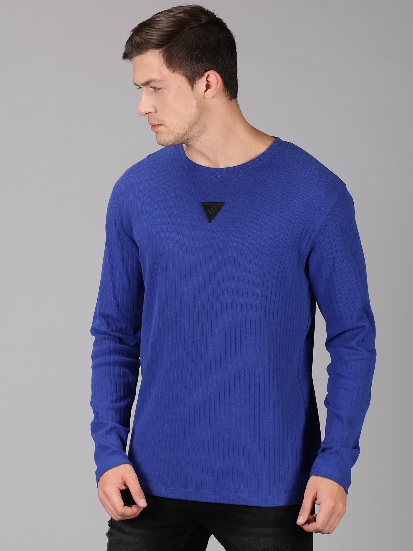UrGear | UrGear Solid Men Round Neck Blue T-Shirt
