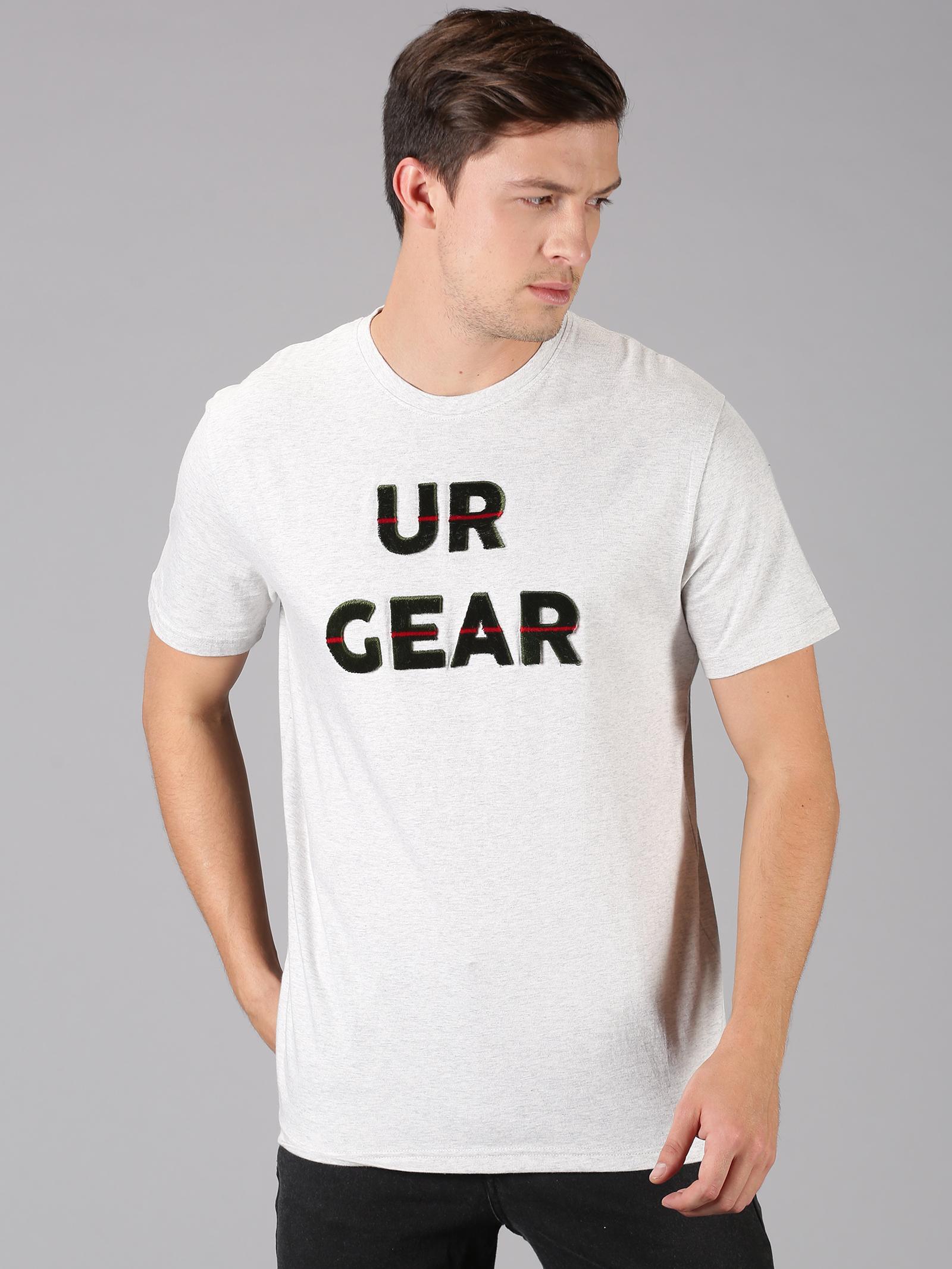UrGear | UrGear Tuft Embro Men Round Neck White T-Shirt