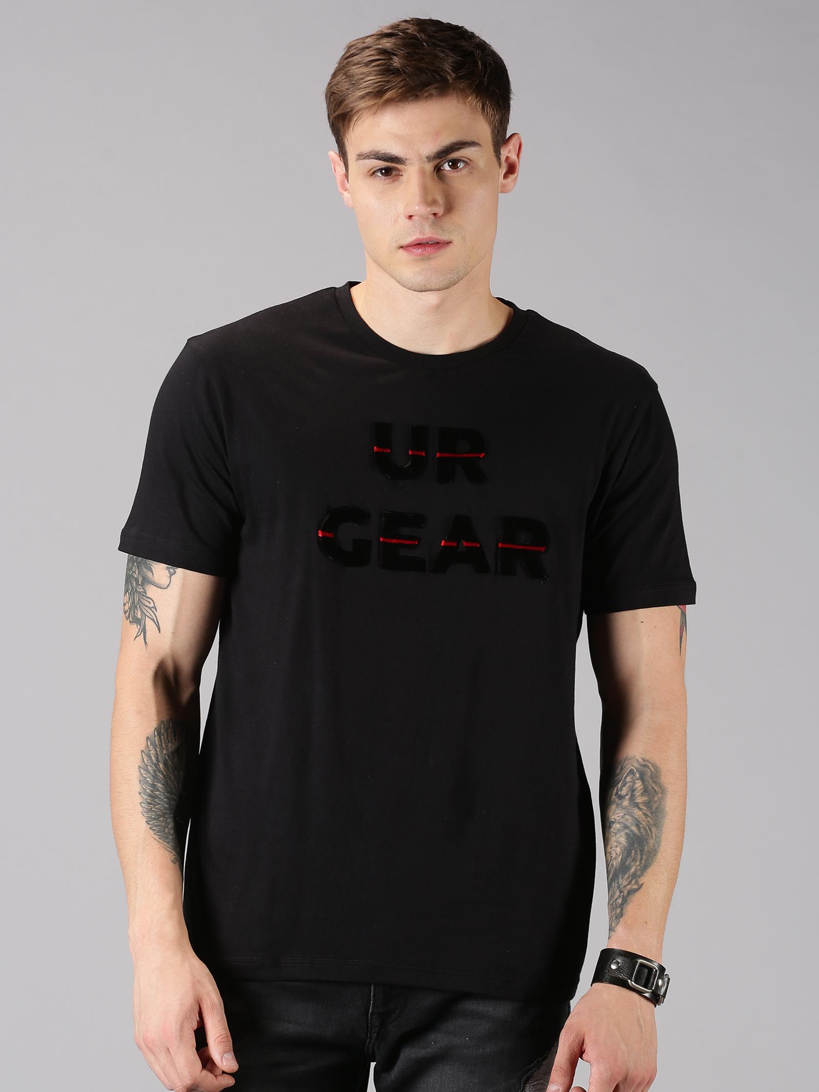 UrGear | UrGear Tuft Embro Men Round Neck Black  T-Shirt