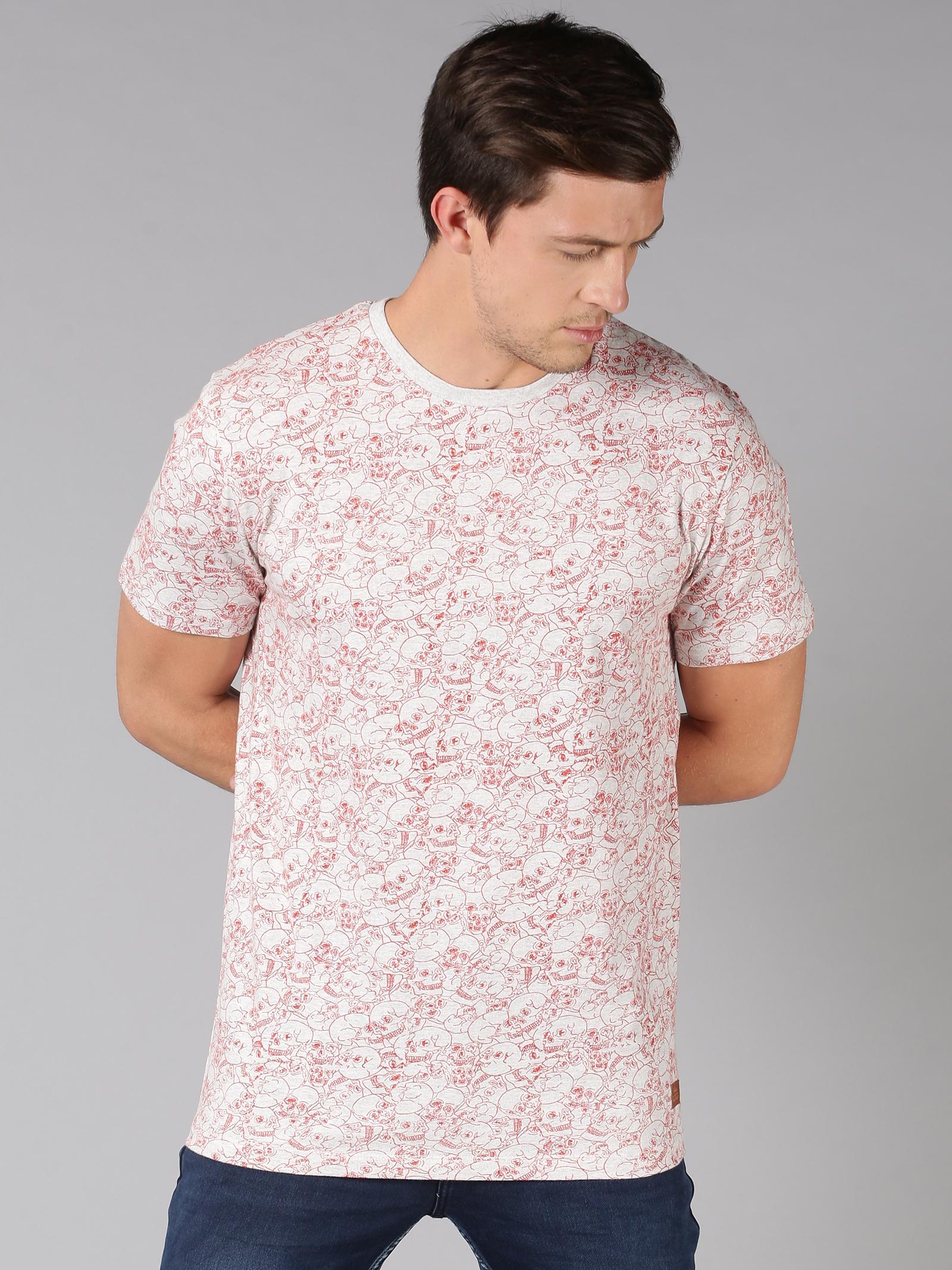 UrGear | UrGear Printed Men Round Neck Pink T-Shirt