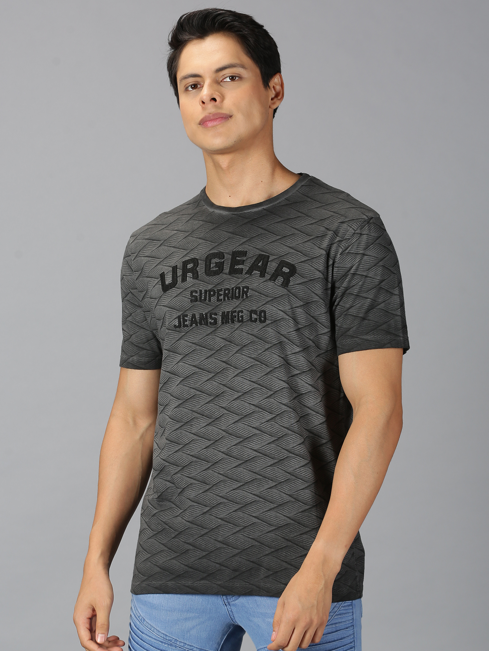 UrGear | UrGear Printed Men Round Neck Black T-shirt