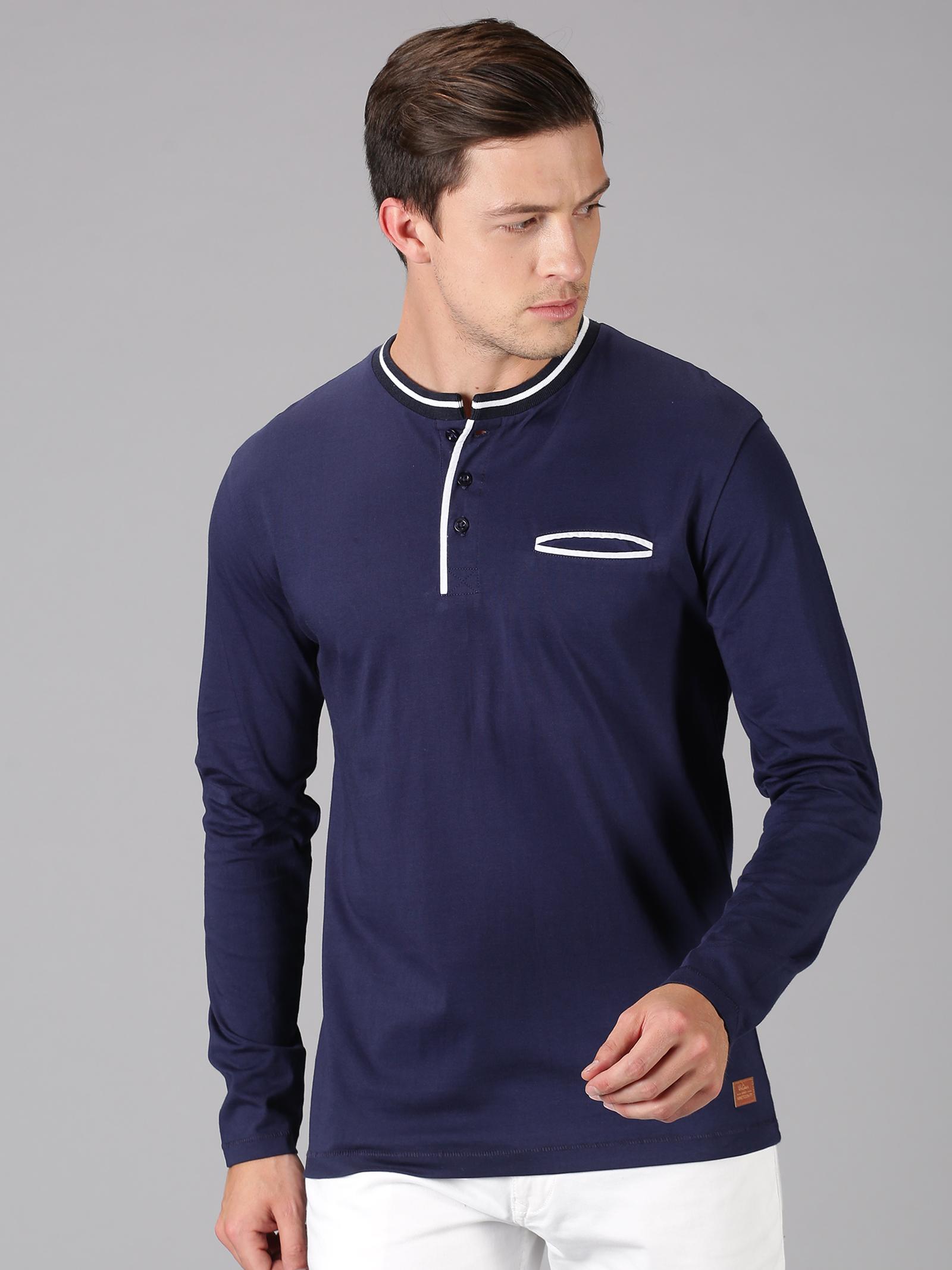 UrGear | UrGear solid  Men Mandarin Collar Navy Blue T-Shirt