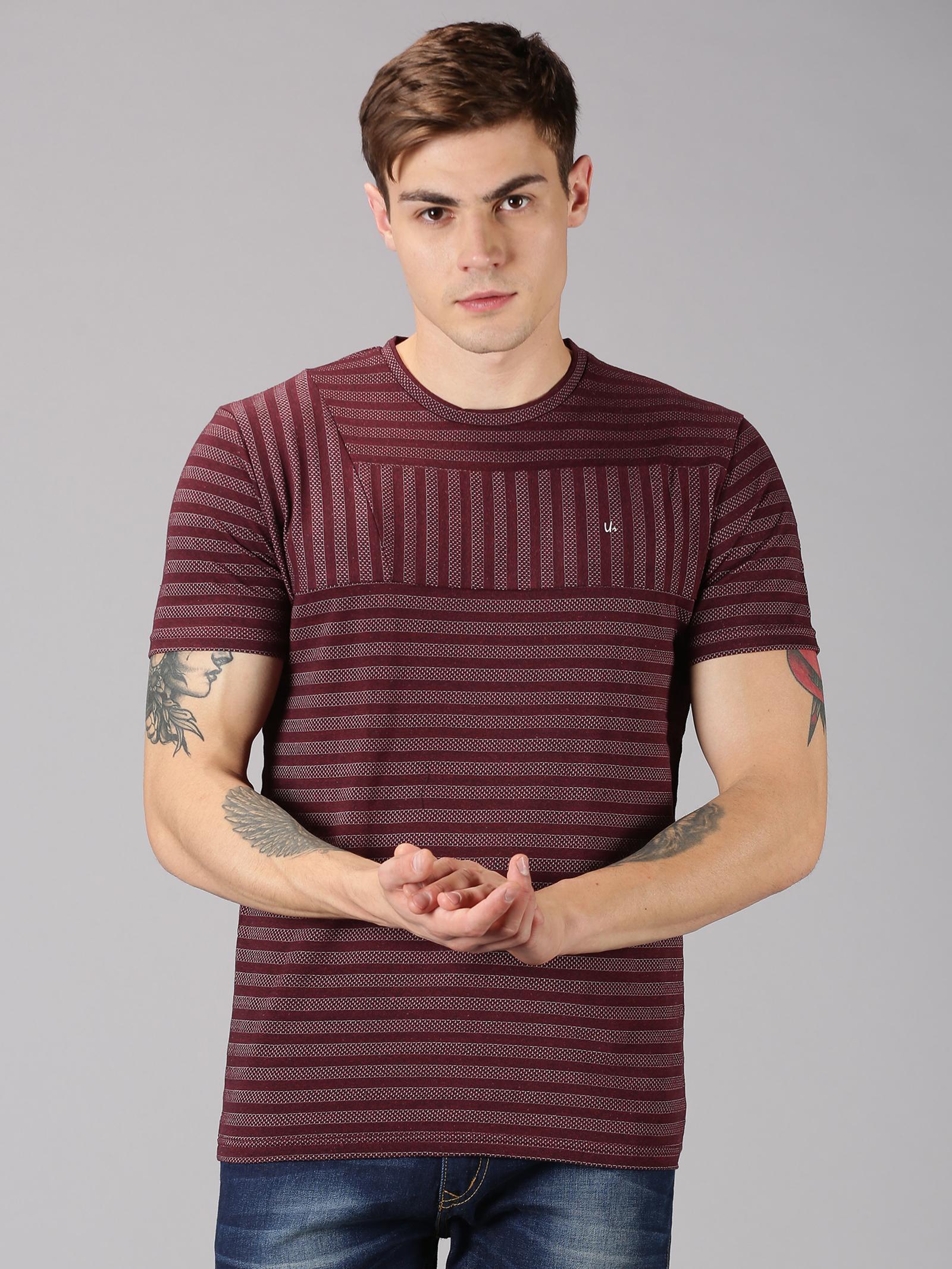 UrGear | UrGear striped  Men Round Neck Burgundy T-Shirt