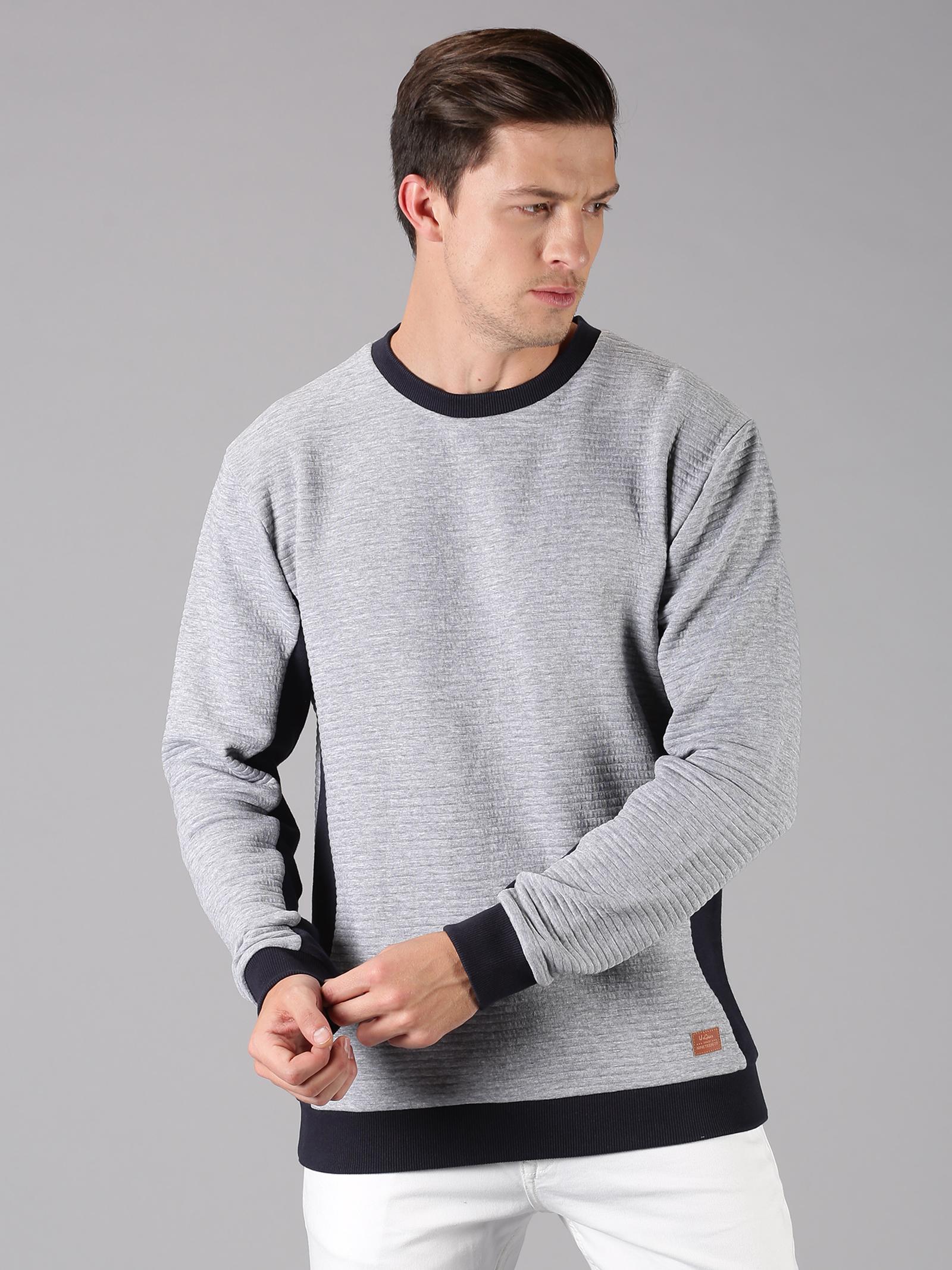 UrGear   Urgear Solid Round Neck Sky Grey Milange Sweatshirt