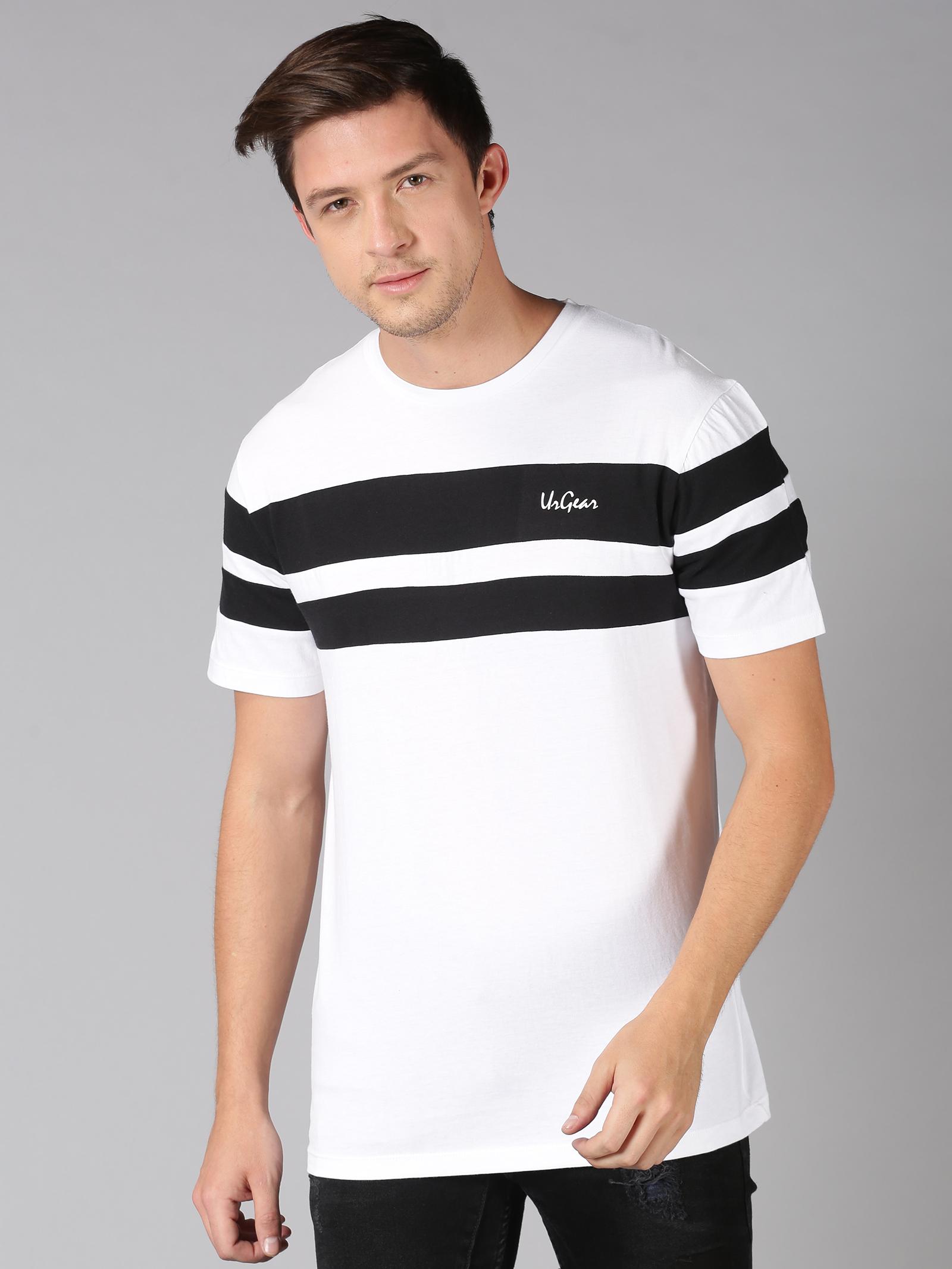 UrGear | UrGear Broad Stripes Men Round Neck White T-Shirt