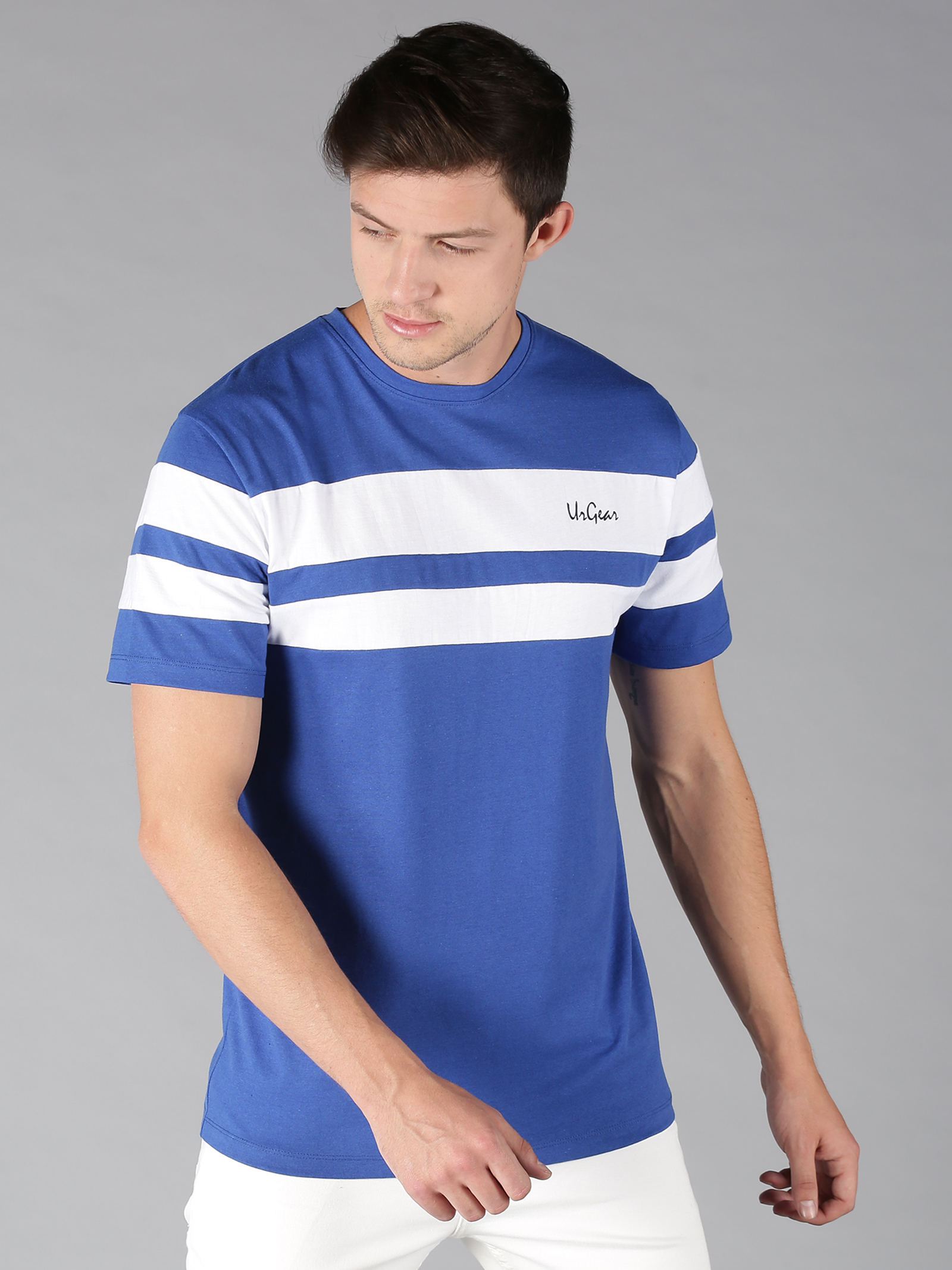 UrGear | UrGear Striped Men Round Neck Blue, White T-Shirt
