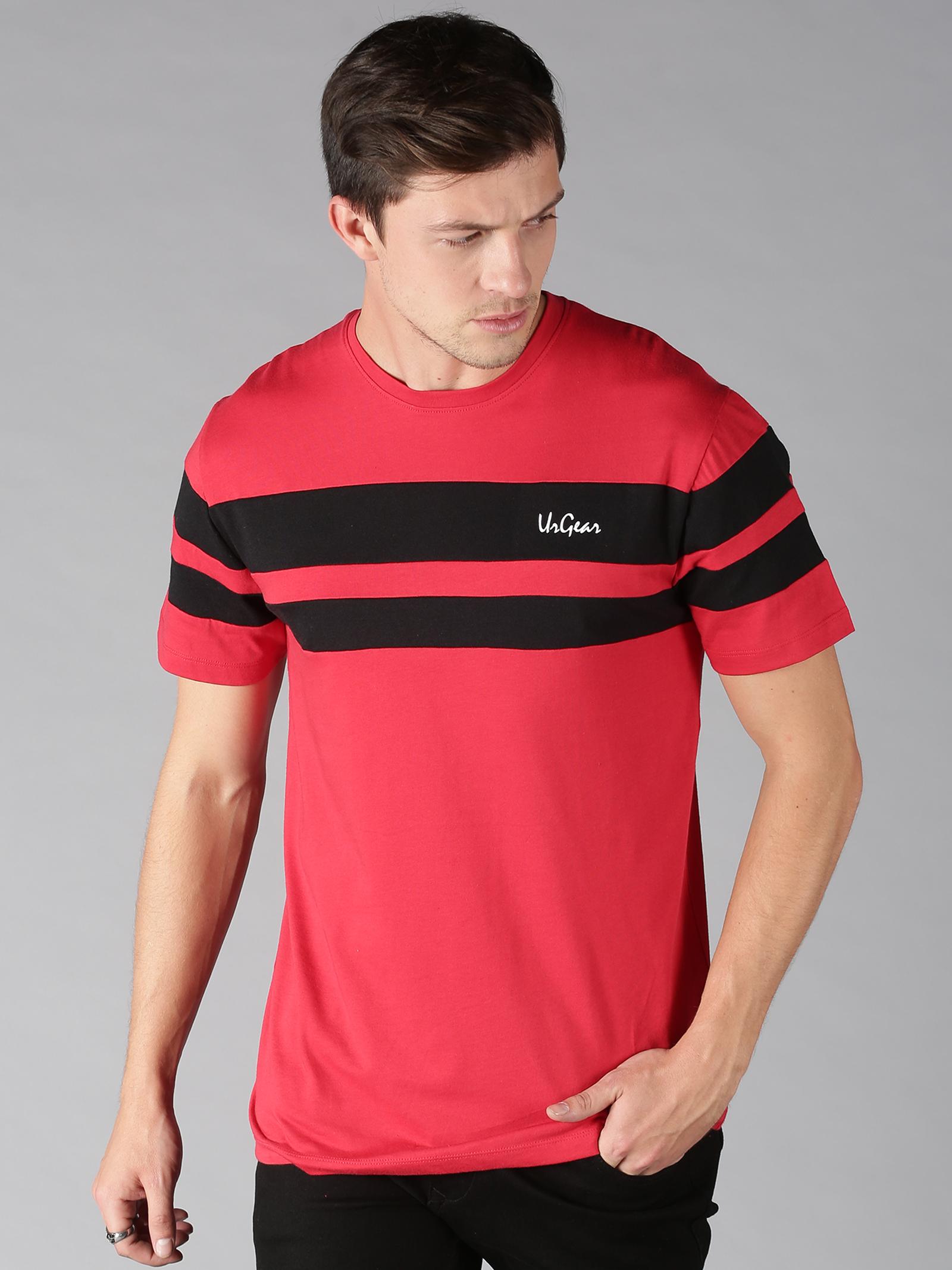 UrGear | UrGear Striped Men Round Neck Red, Black T-Shirt