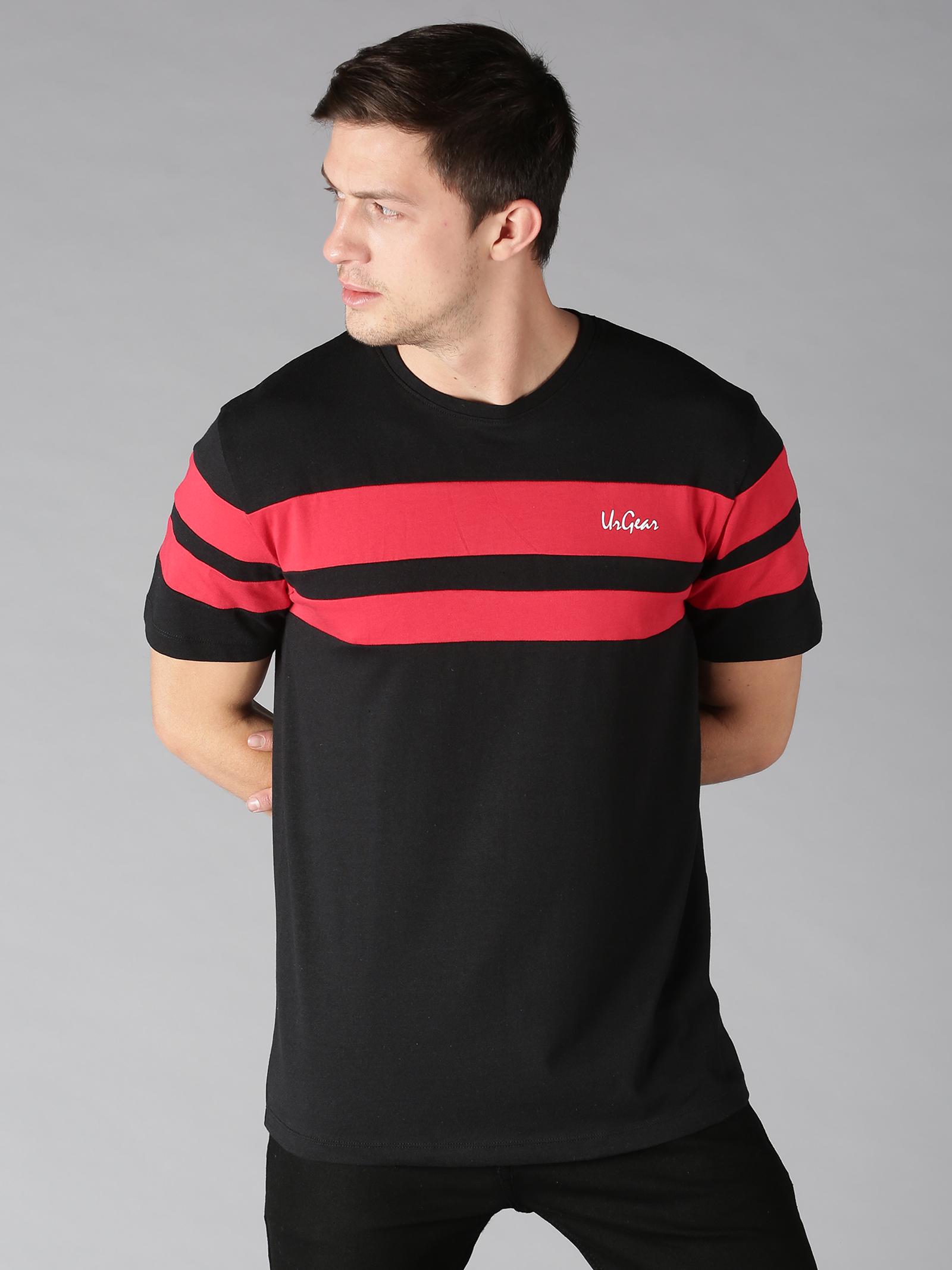 UrGear | UrGear Striped Men Round Neck Black, Red T-Shirt