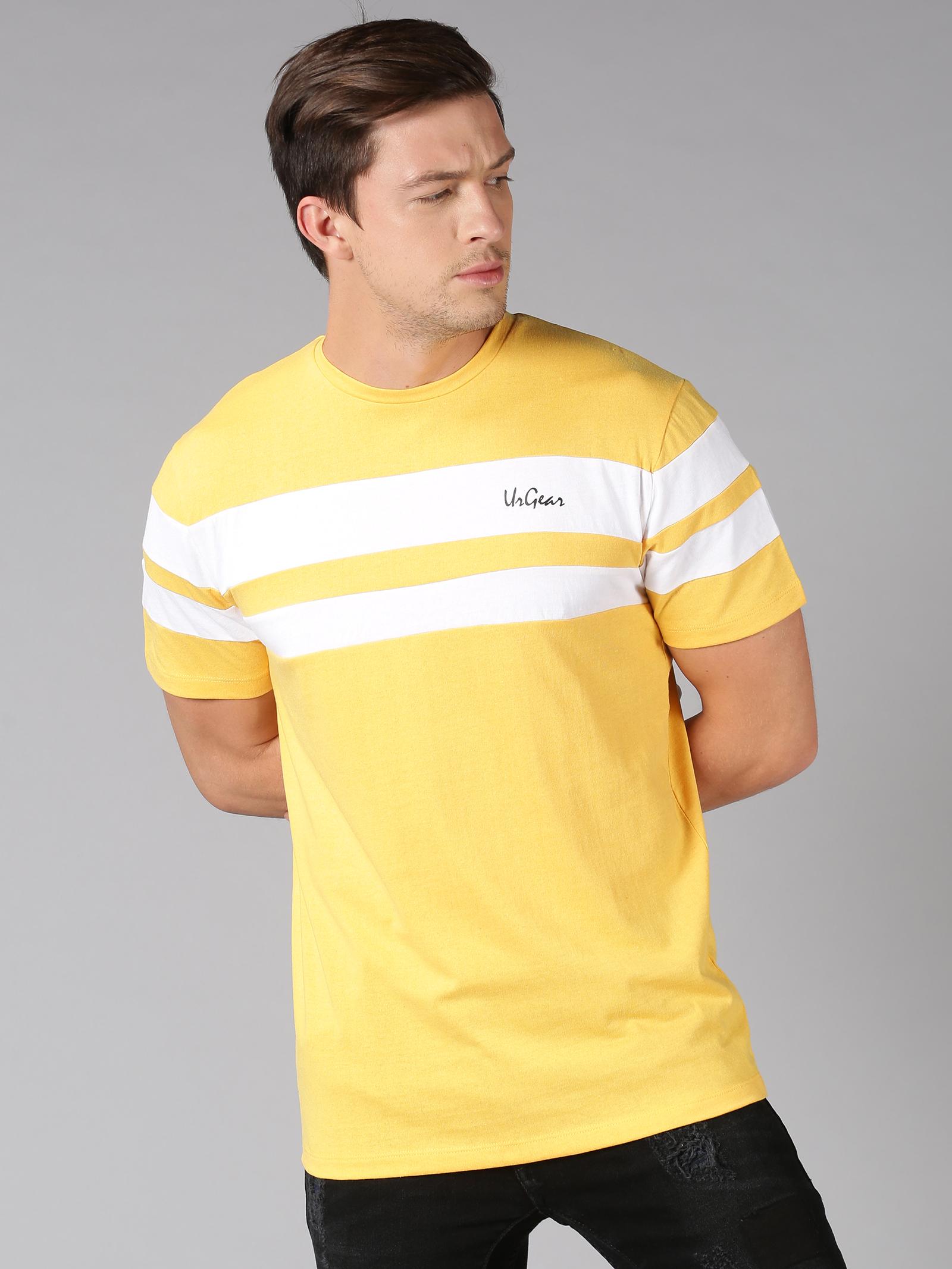 UrGear | UrGear Striped Men Round Neck Yellow T-Shirt