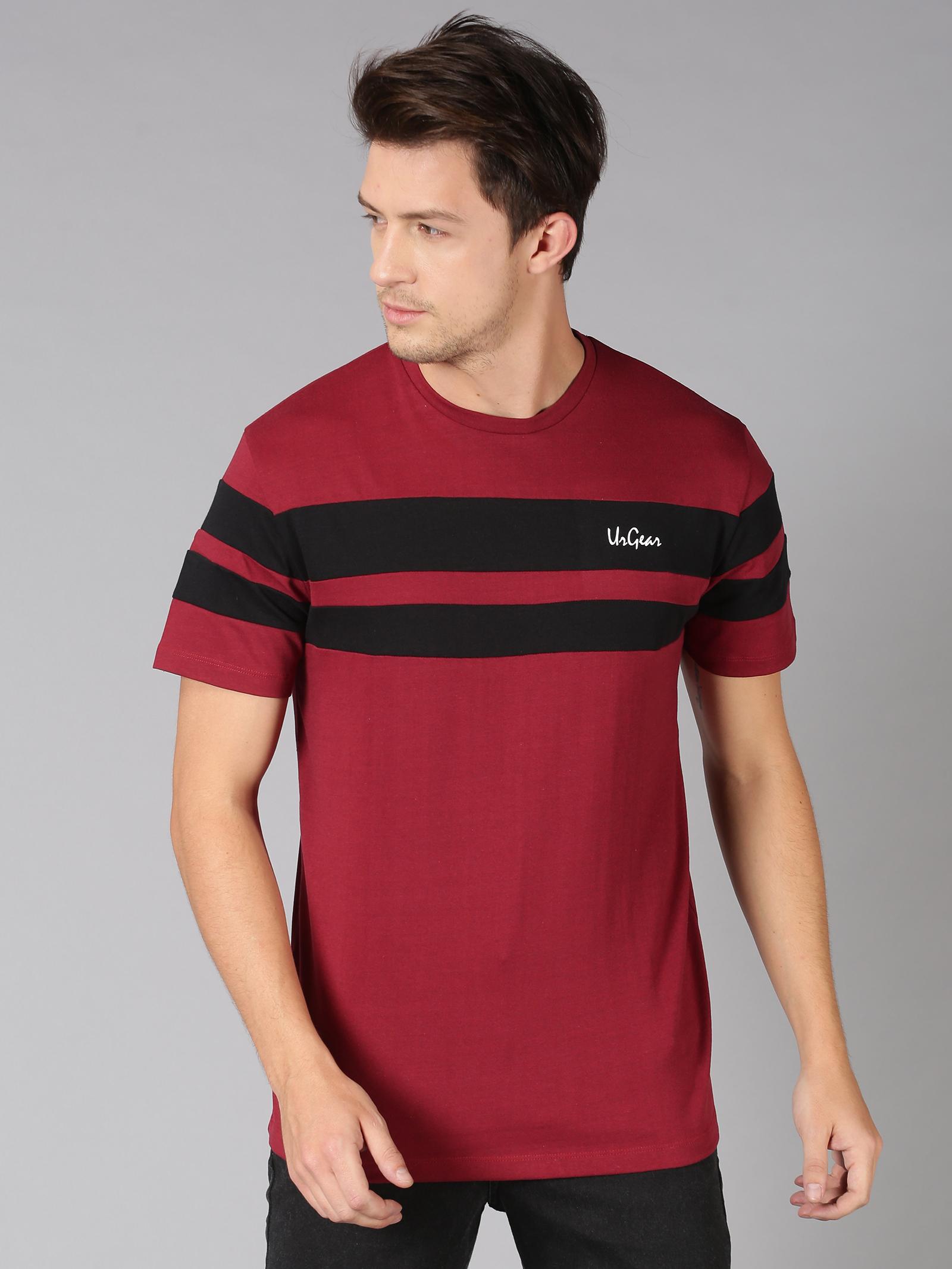 UrGear | UrGear Broad Stripes Men Round Neck Maroon T-Shirt