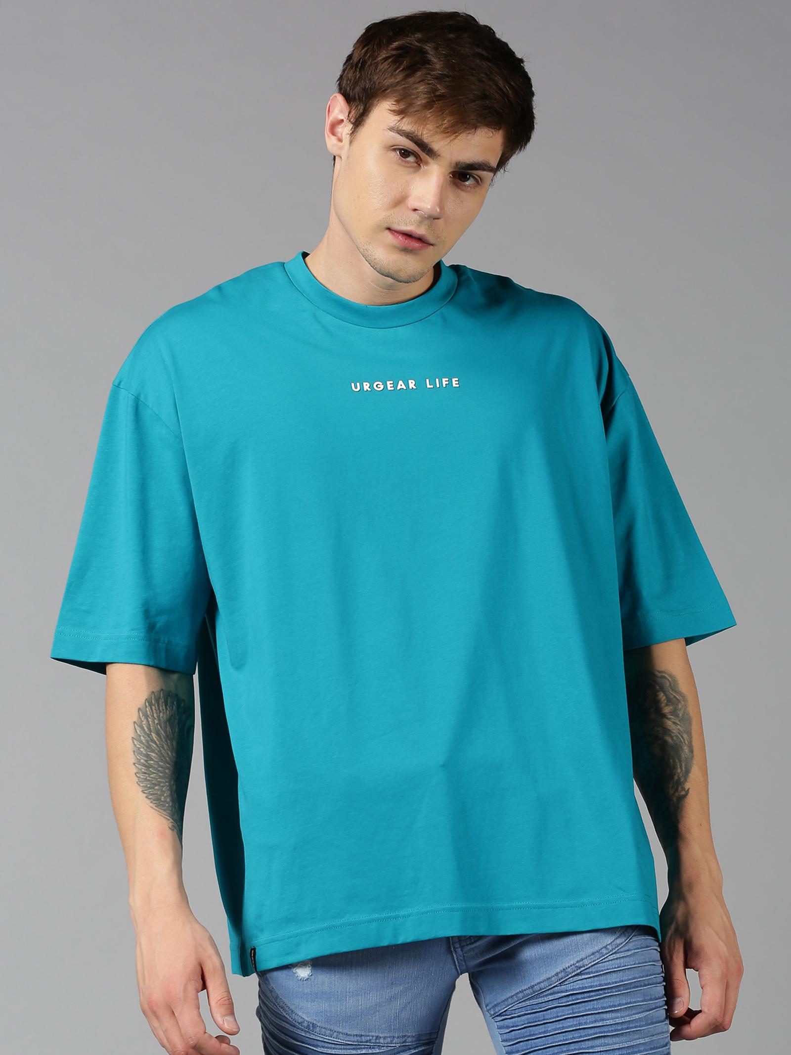 UrGear | UrGear Solid Men Oversized Blue T-Shirt