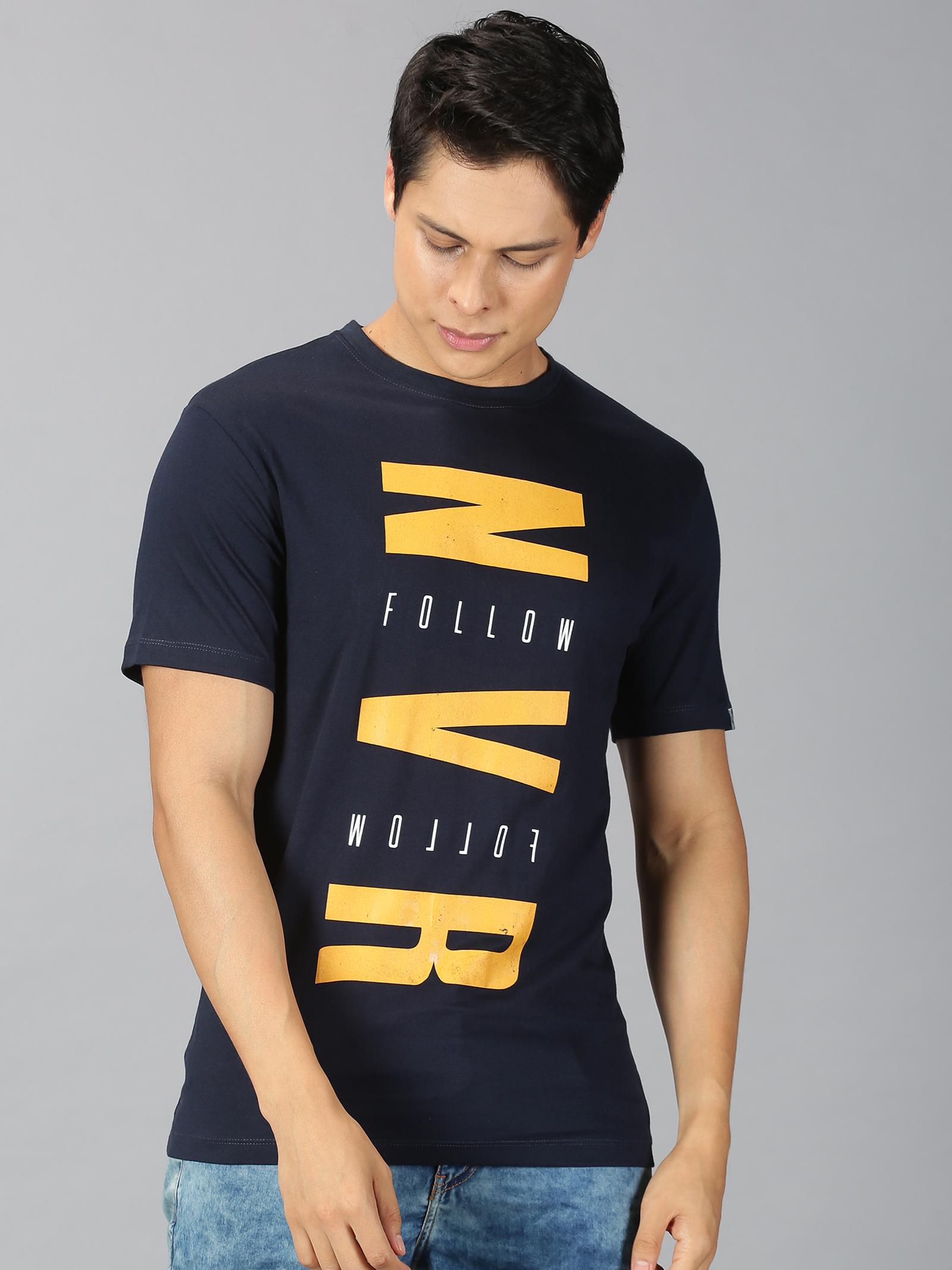 UrGear | UrGear Printed Men Round Neck Navy T-shirt