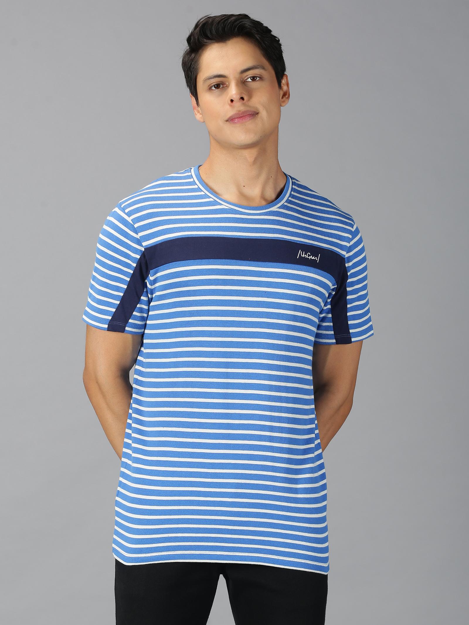 UrGear | UrGear Striped Men Round Neck Blue T-shirt