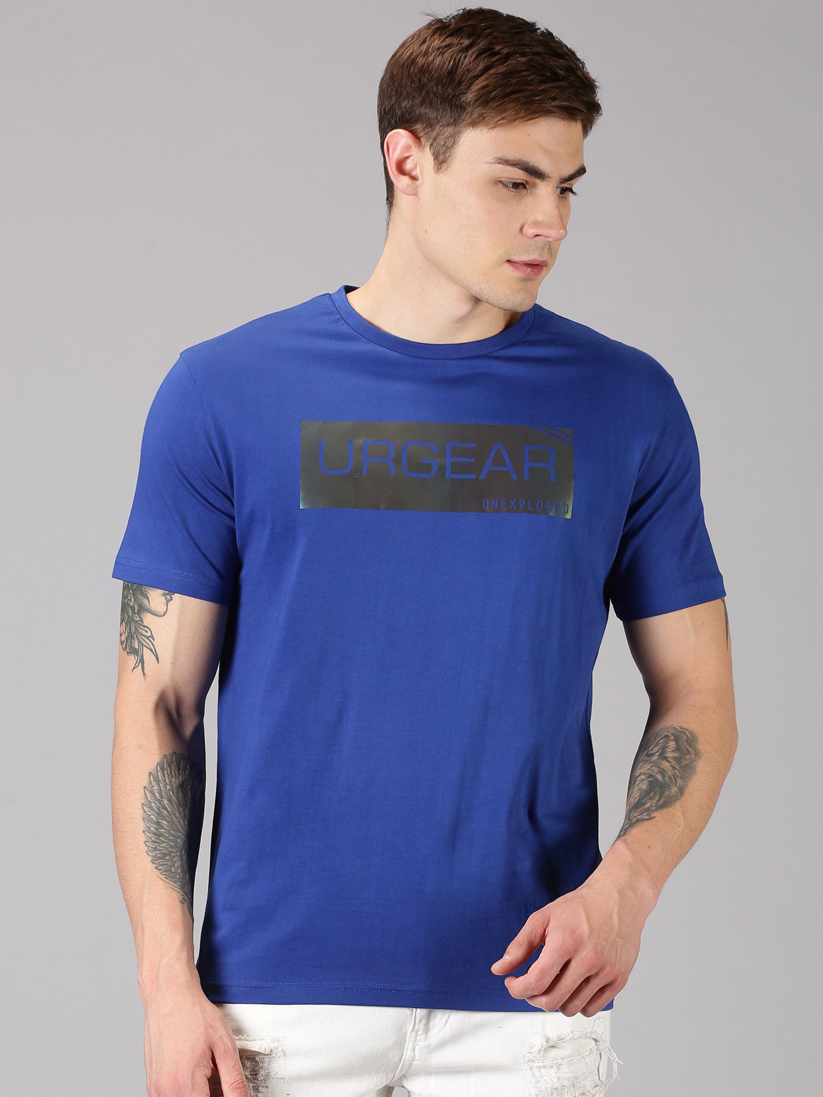 UrGear | UrGear Typography Men Round Neck Blue T-Shirt