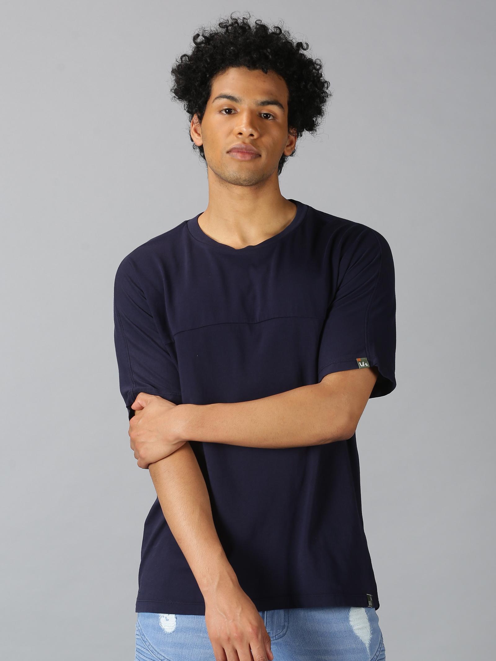 UrGear | UrGear Solid Men Round Neck Navy T-shirt