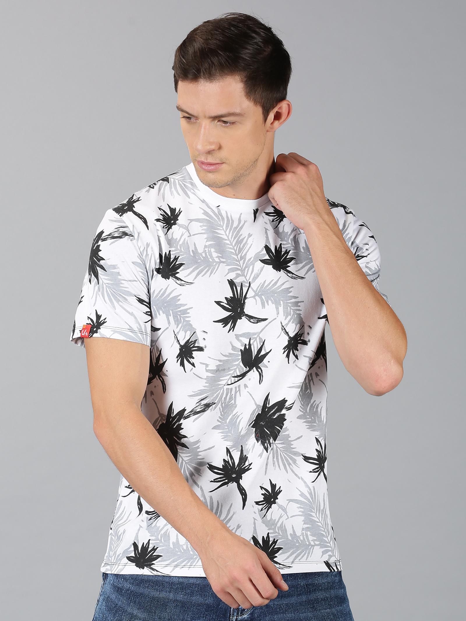 UrGear | UrGear Printed Men Round Neck White T-Shirt
