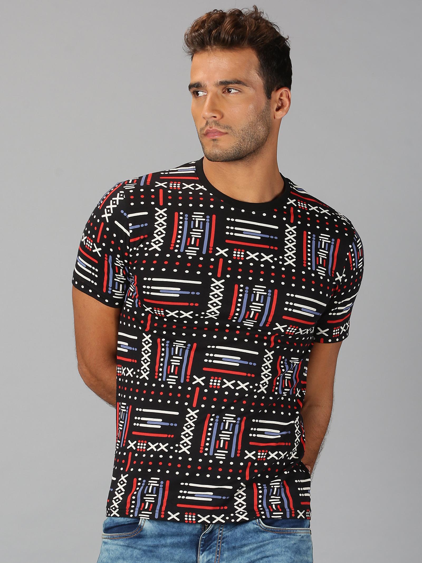 UrGear | Mens Round Neck Printed Black T-Shirt