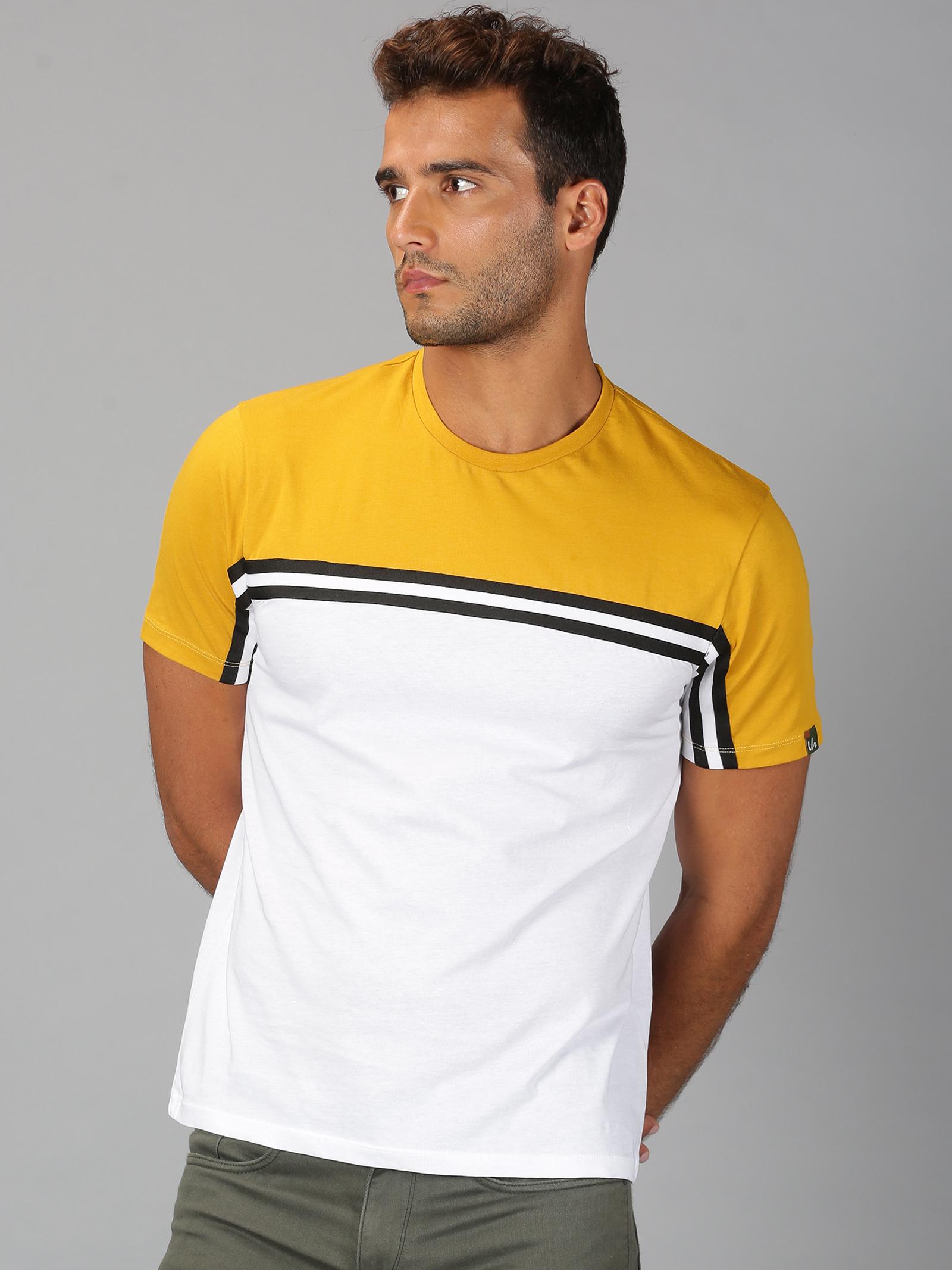 UrGear | Mens Round Neck Colourblock White & Yellow T-Shirt