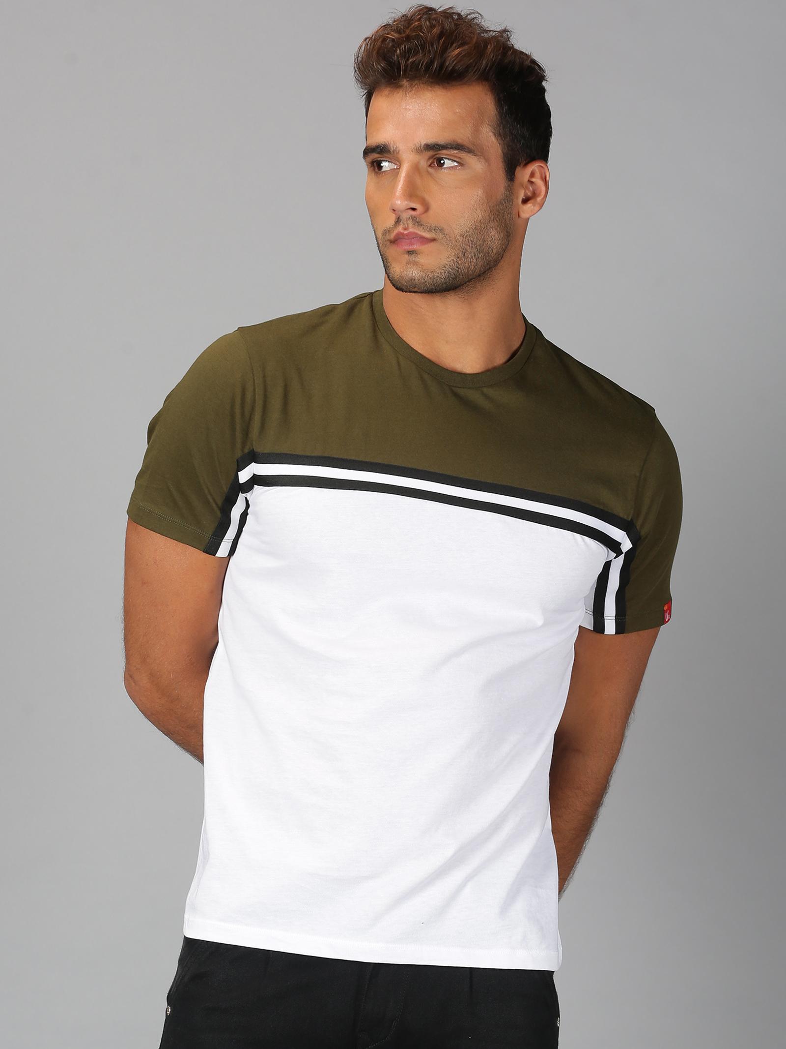 UrGear | Mens Round Neck Colourblock White & Green T-Shirt