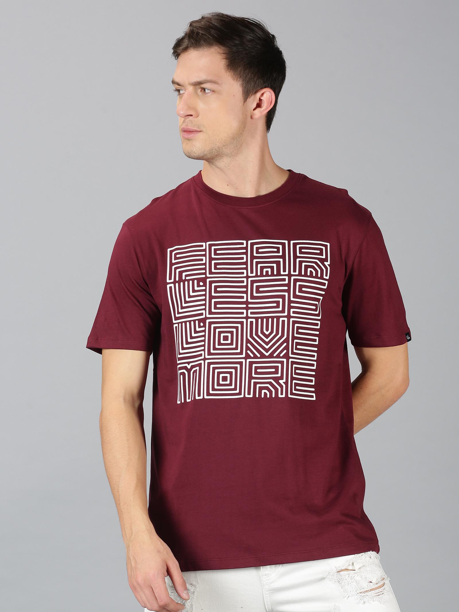 UrGear | UrGear Typography Men Round Neck Burgundy T-Shirt
