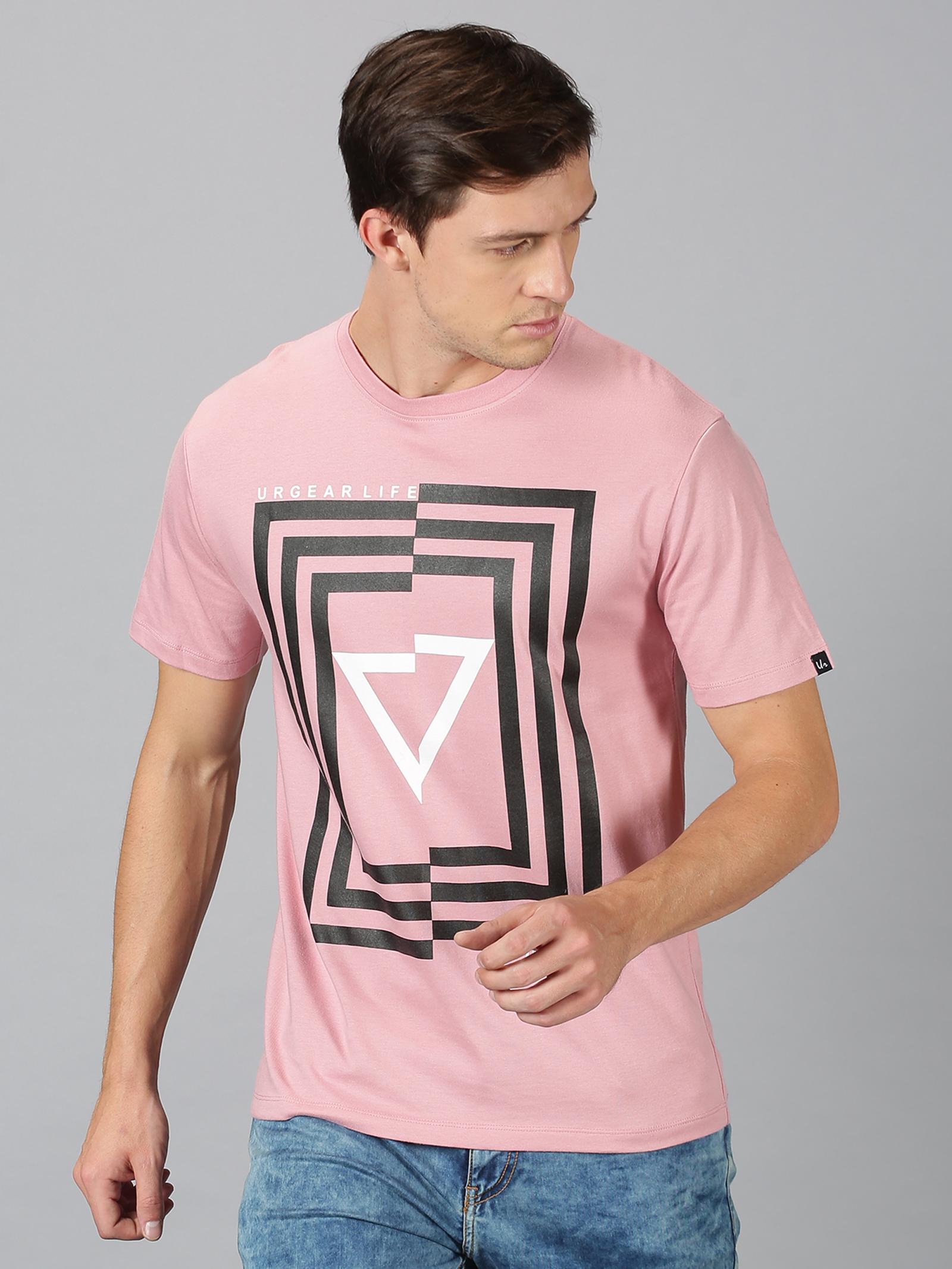 UrGear | UrGear Printed Round Neck Pink T-Shirt