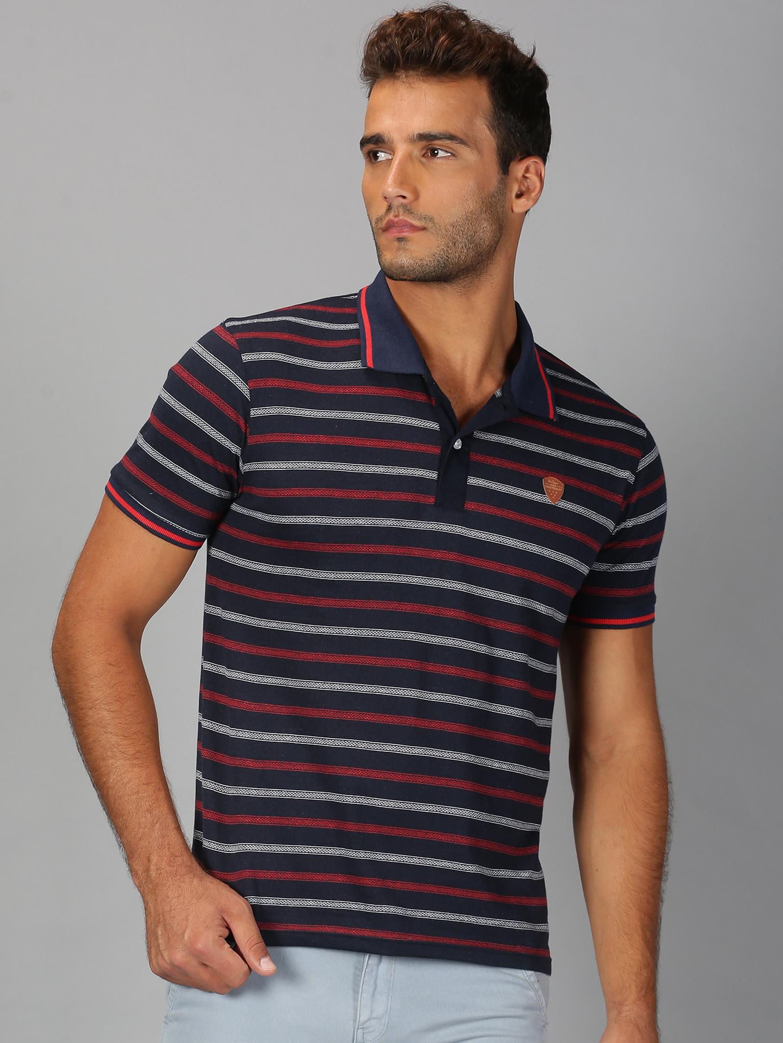 UrGear | Mens Polo Neck Striped Red White T-Shirt