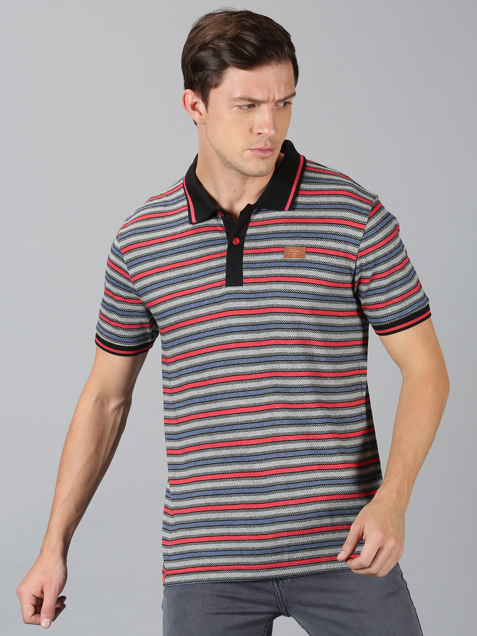 UrGear | UrGear Stripes  Men Polo Red With Melange T-Shirt