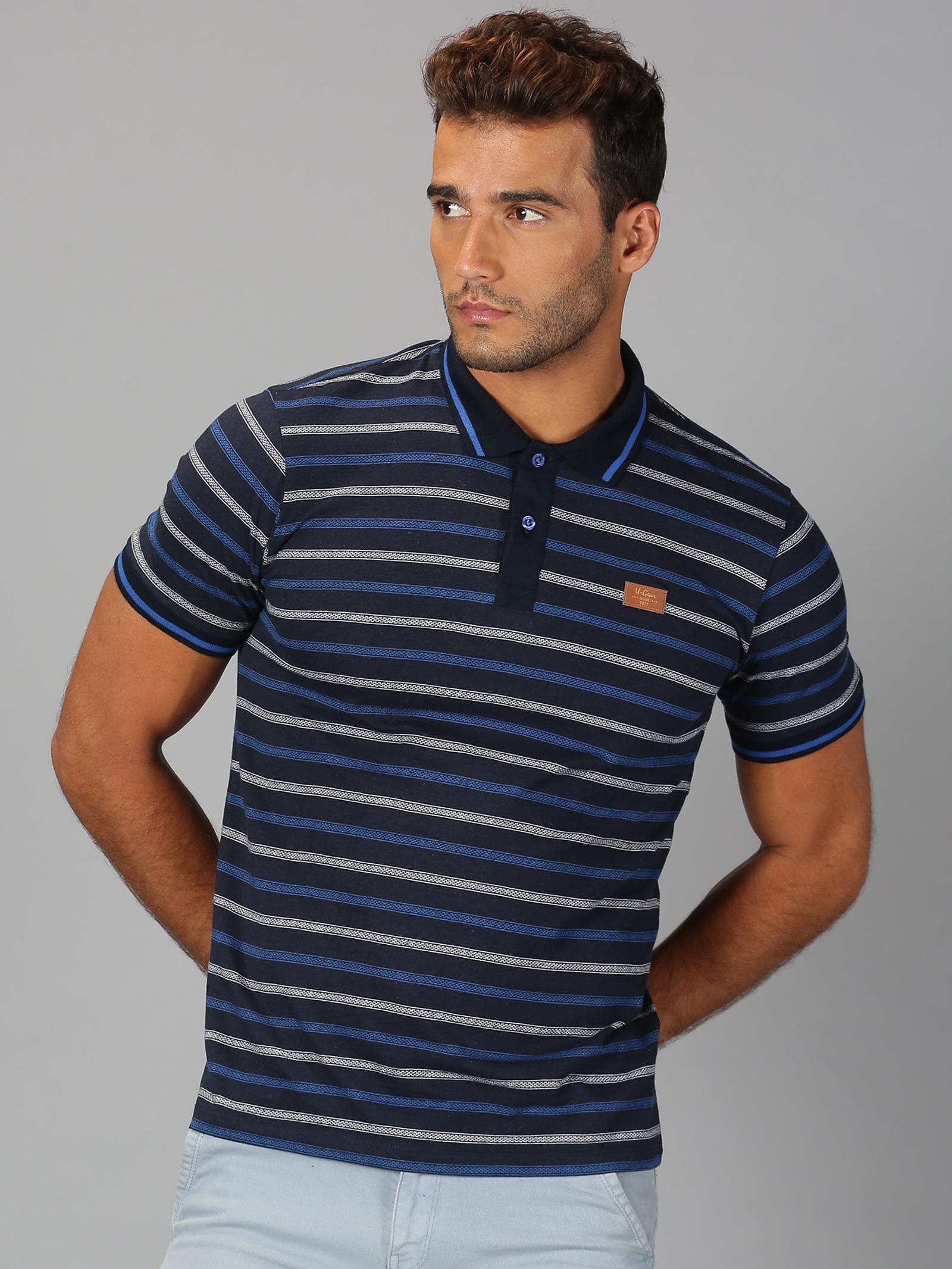 UrGear | Mens Polo Neck Striped Blue White T-Shirt