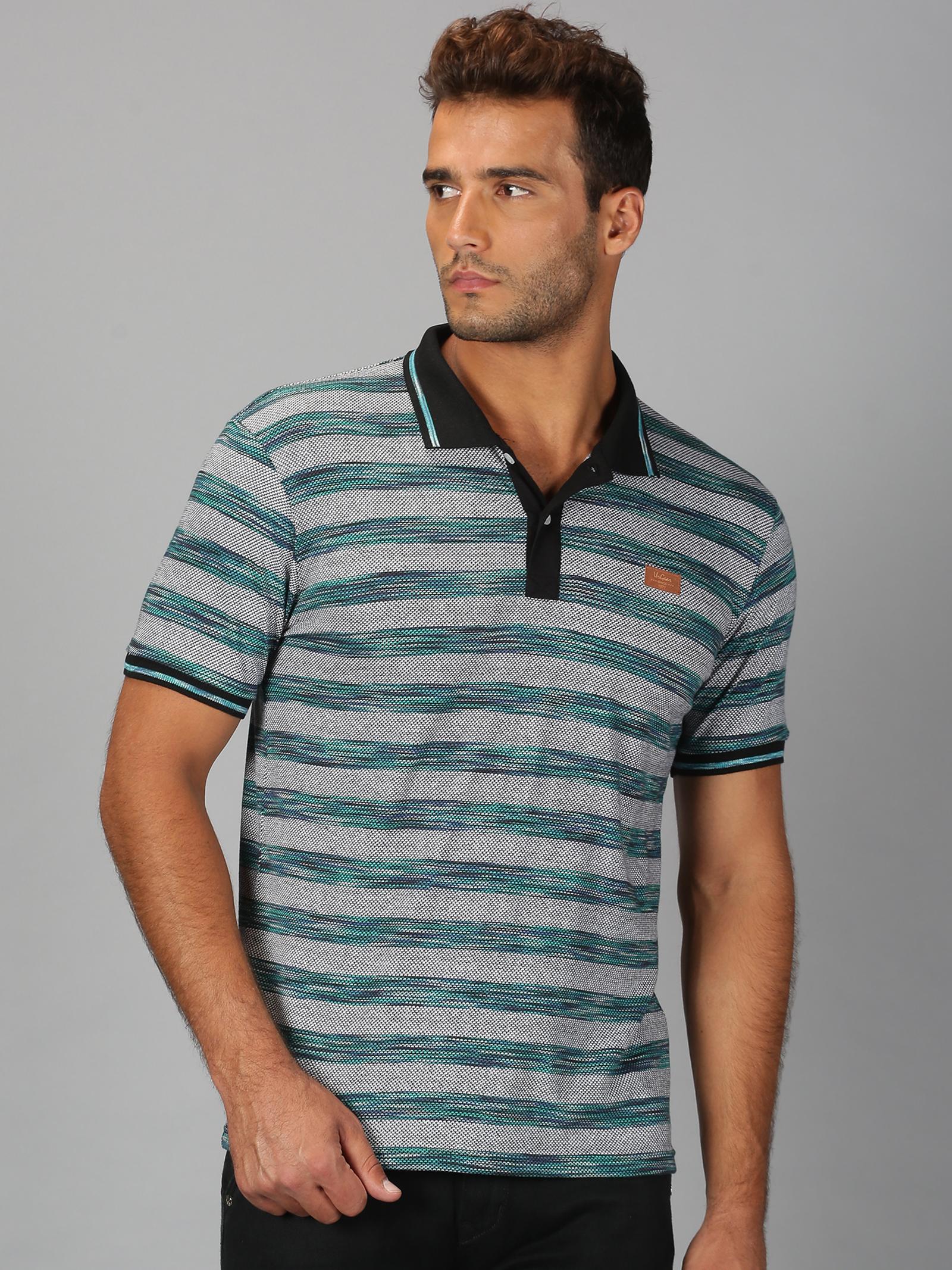 UrGear | Mens Polo Neck Striped Green White T-Shirt