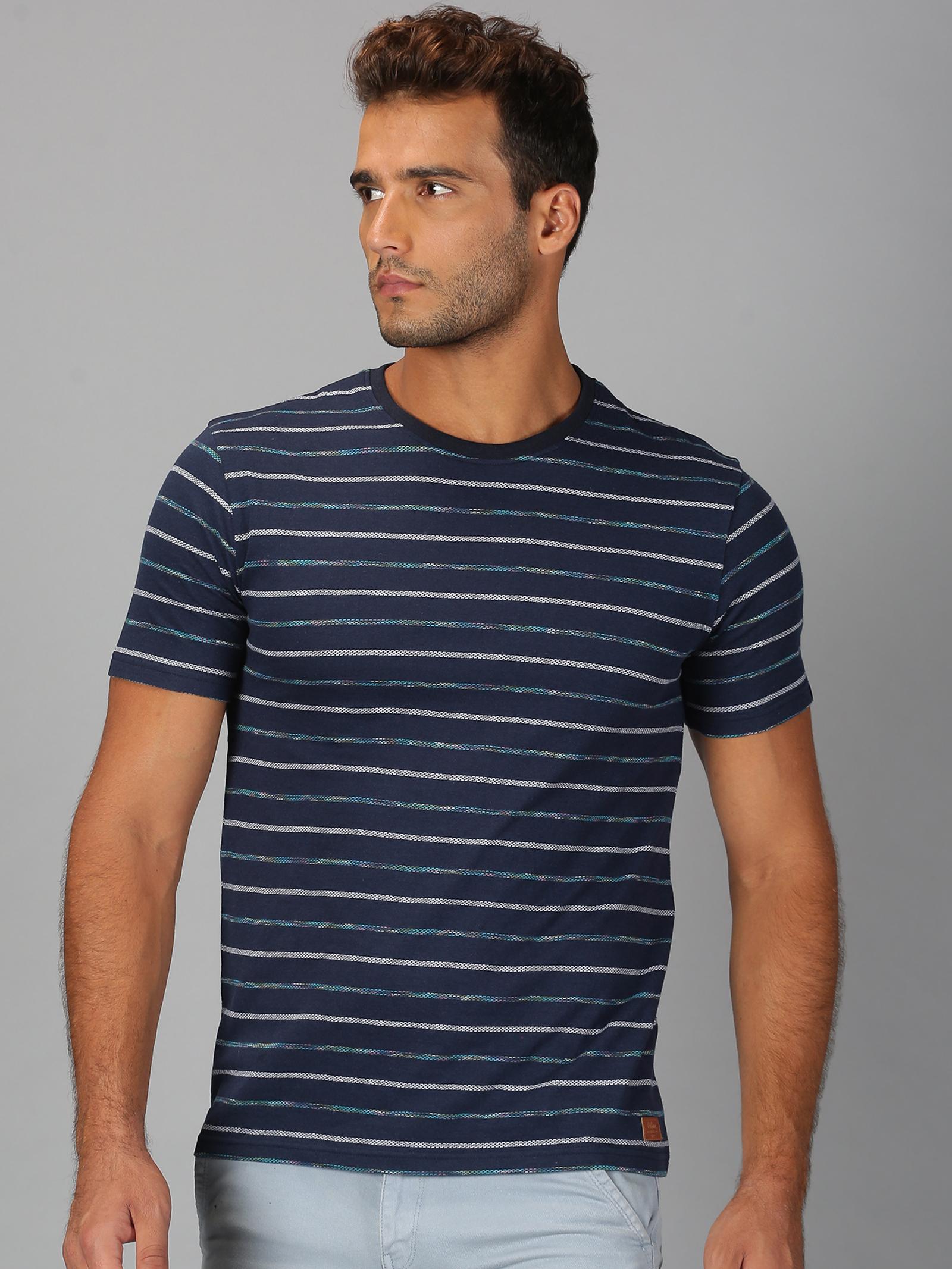 UrGear | Mens Round Neck Striped Navy White T-Shirt