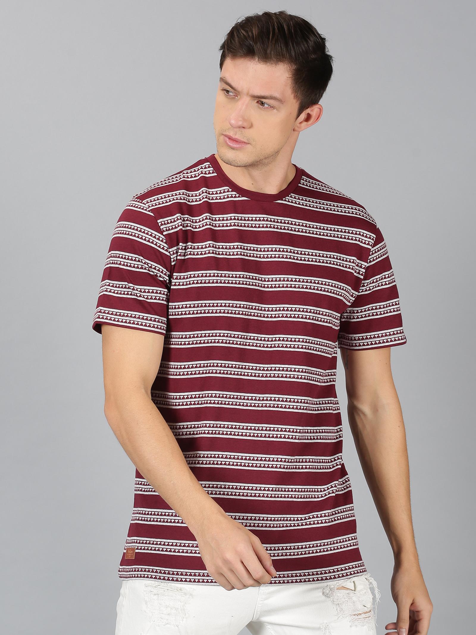 UrGear | UrGear Stripes  Men Round Neck Burgundy,Grey  melange T-Shirt