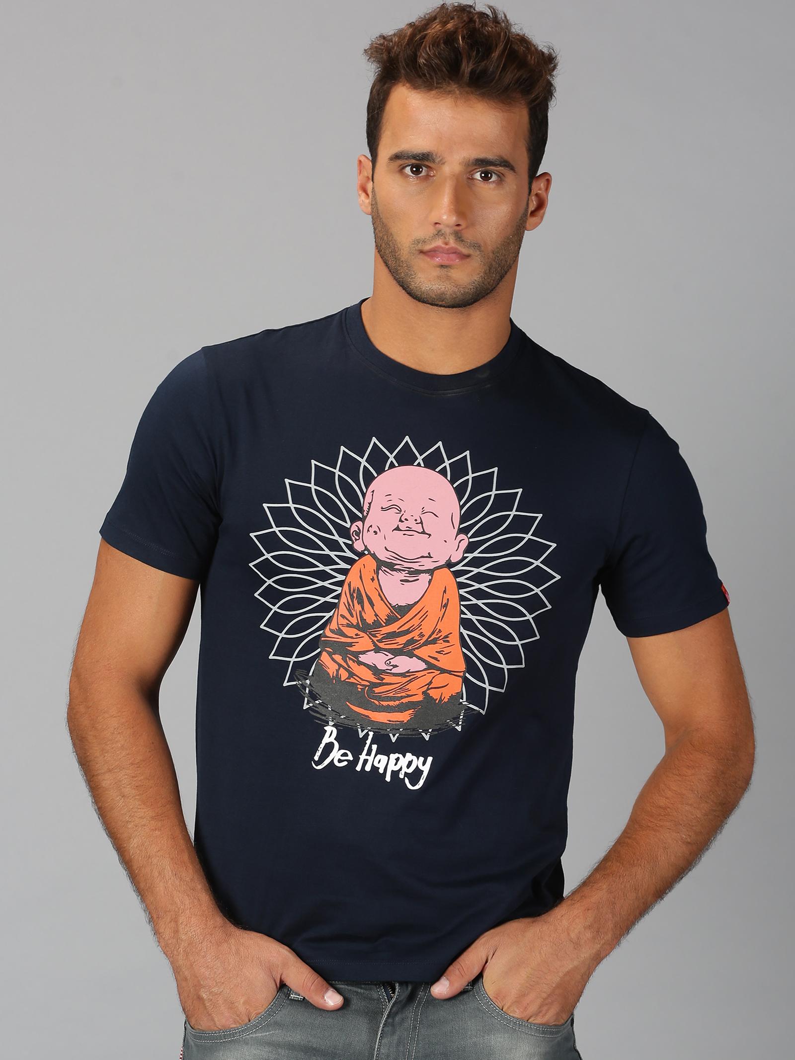 UrGear | Mens Round Neck Printed  Navy T-Shirt