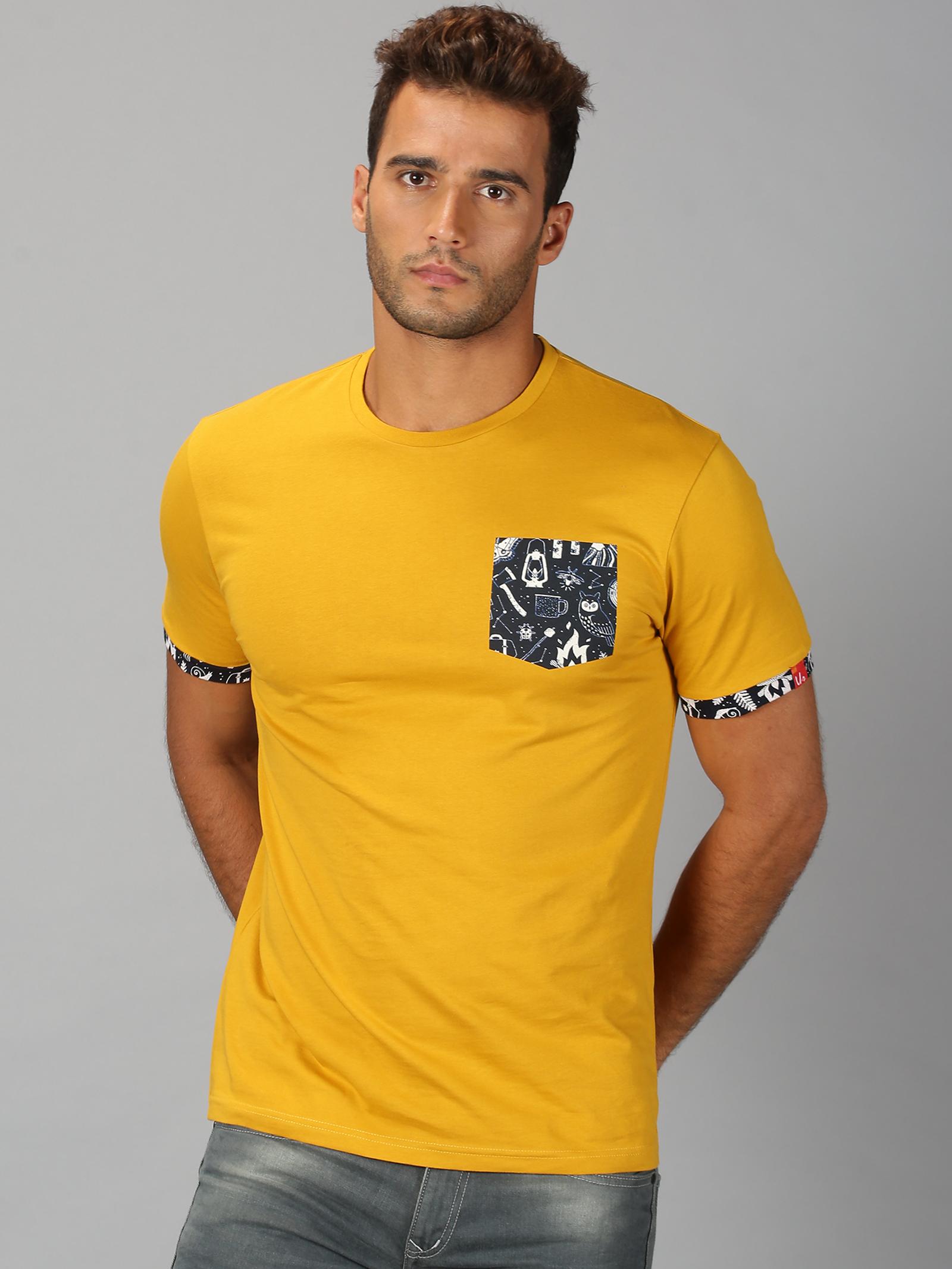 UrGear | Mens Round Neck Printed Mustard T-Shirt