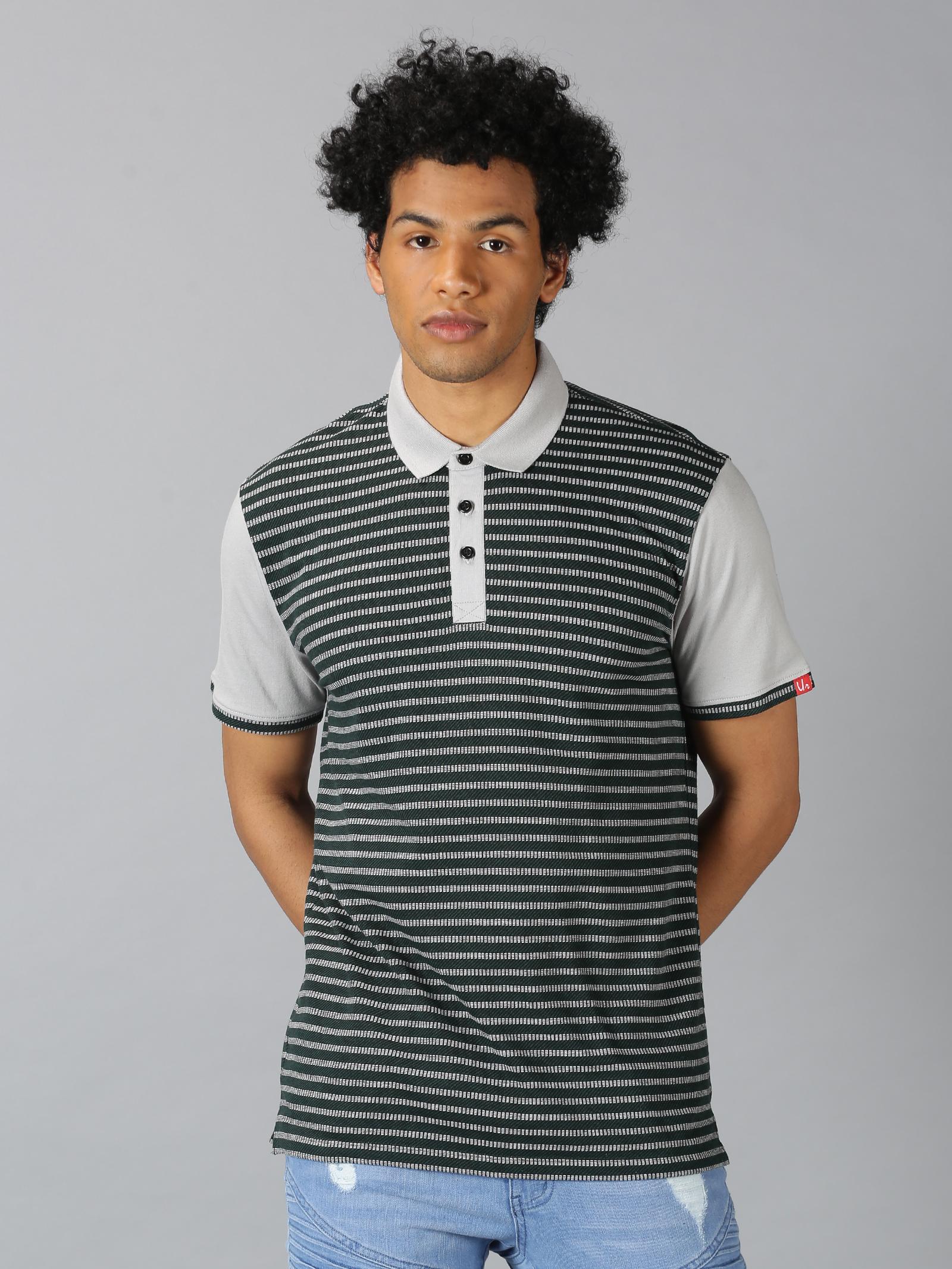 UrGear   UrGear Striped  Men Polo Neck Olive Green Melange T-shirt