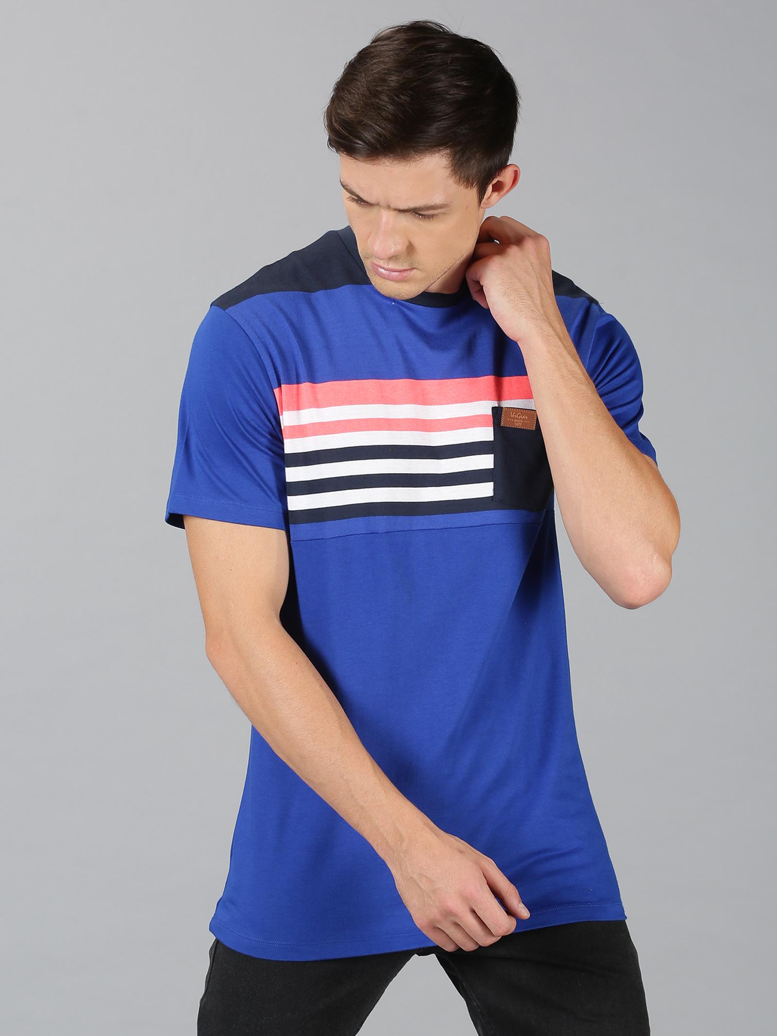 UrGear | UrGear Colourblock Men Round Neck Blue T-Shirt
