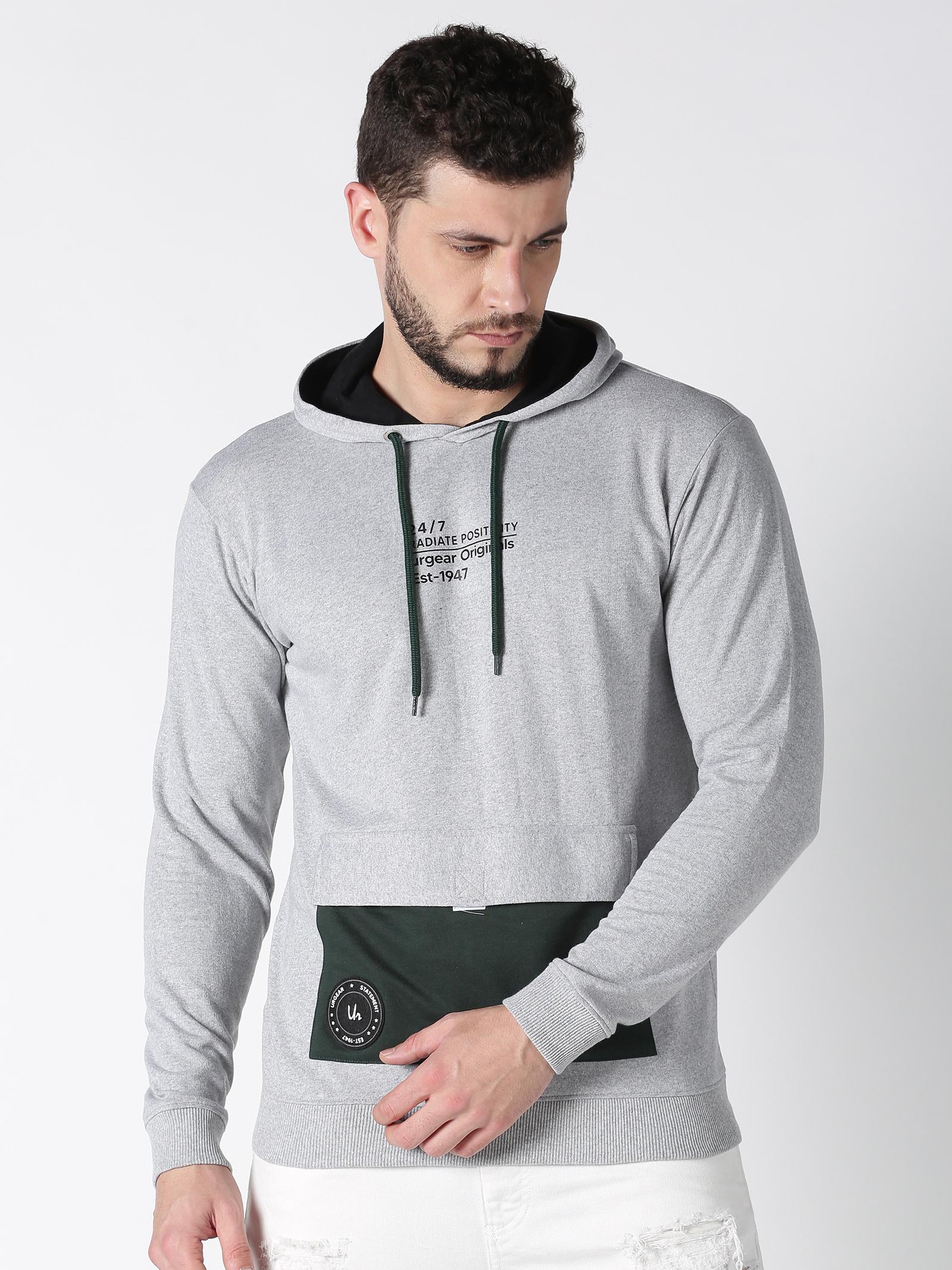 UrGear | Urgear Colourblock Hooded Neck Green & Grey Sweatshirt